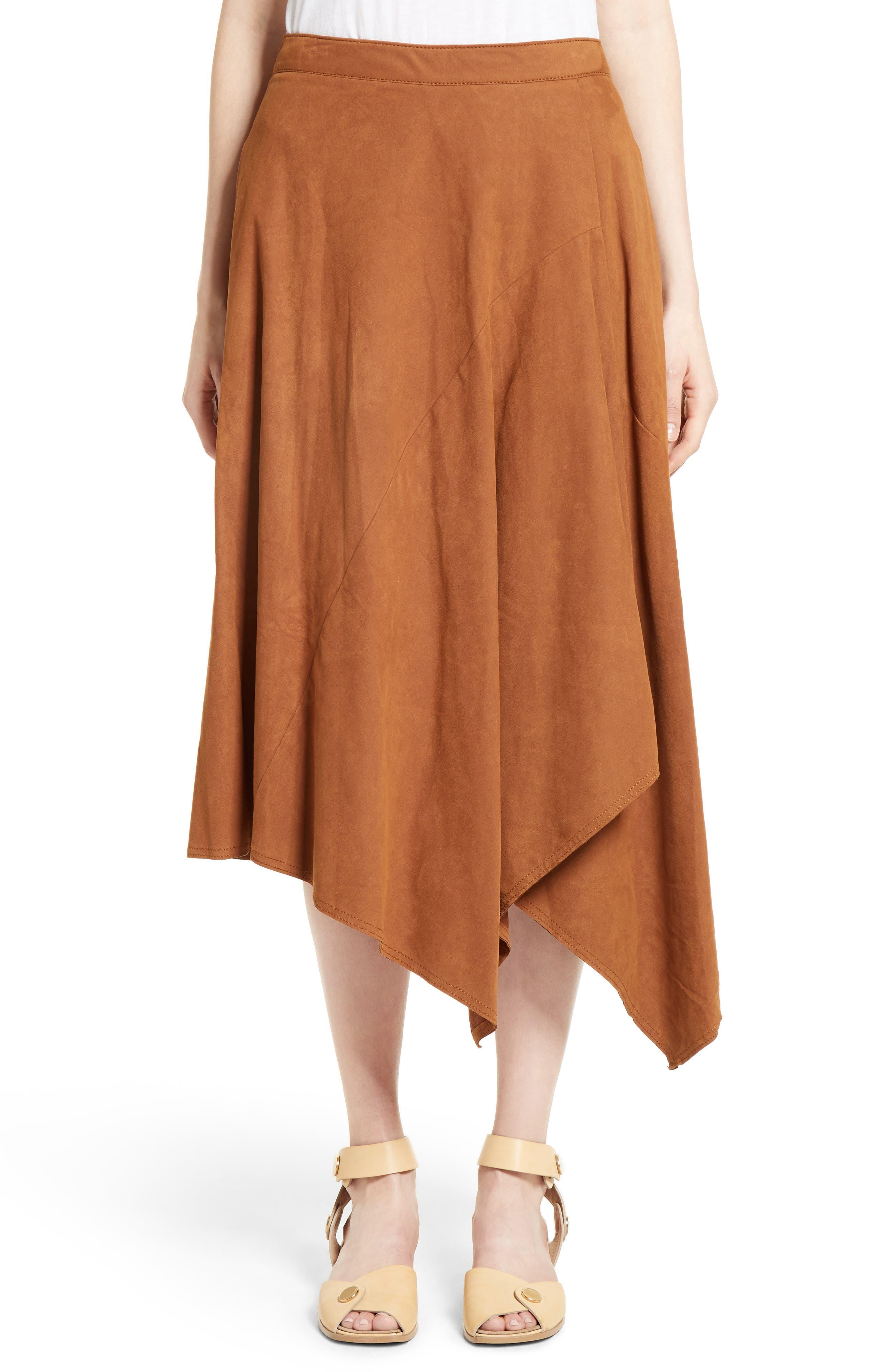 STELLA MCCARTNEY Faux Suede Asymmetrical Midi Skirt