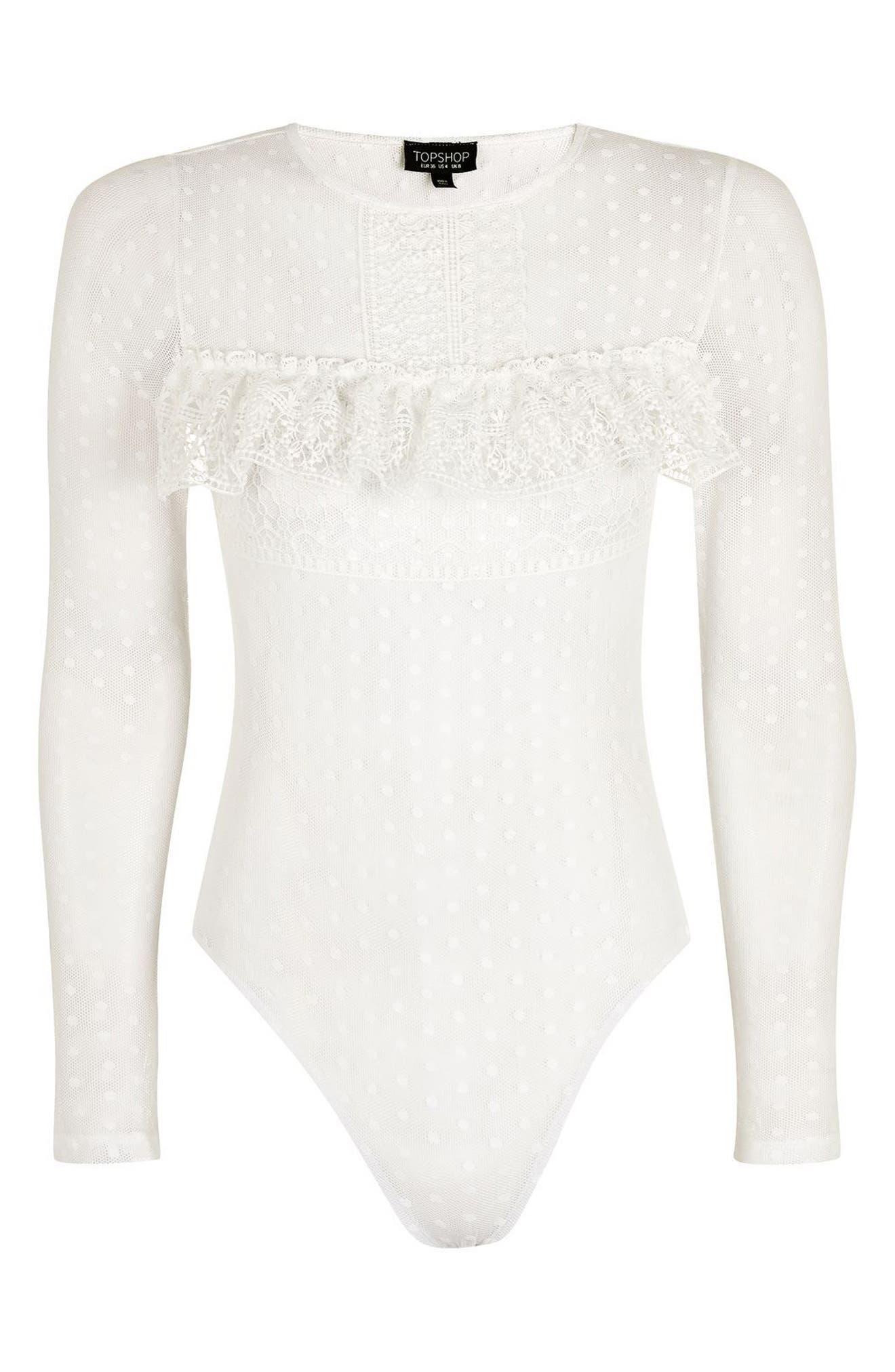 Alternate Image 4  - Topshop Polka Dot Lace Bodysuit