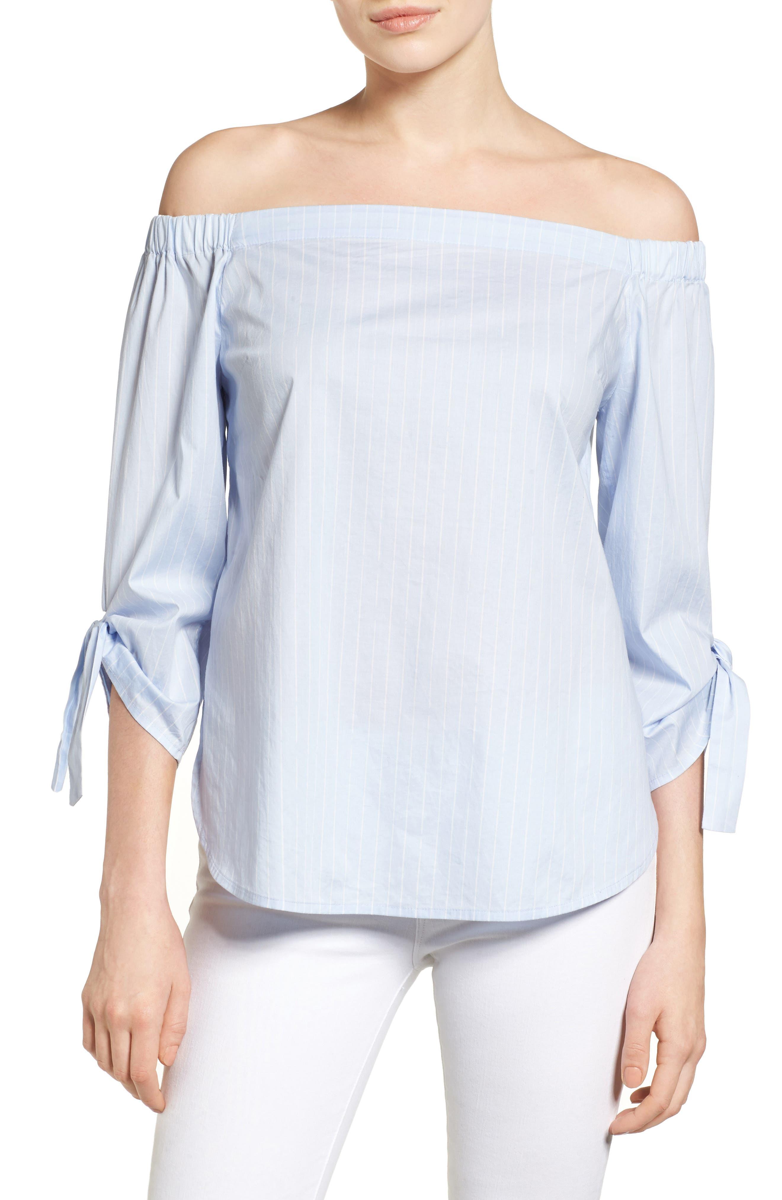 Alternate Image 1 Selected - Halogen® Tie Sleeve Off the Shoulder Top (Regular & Petite)