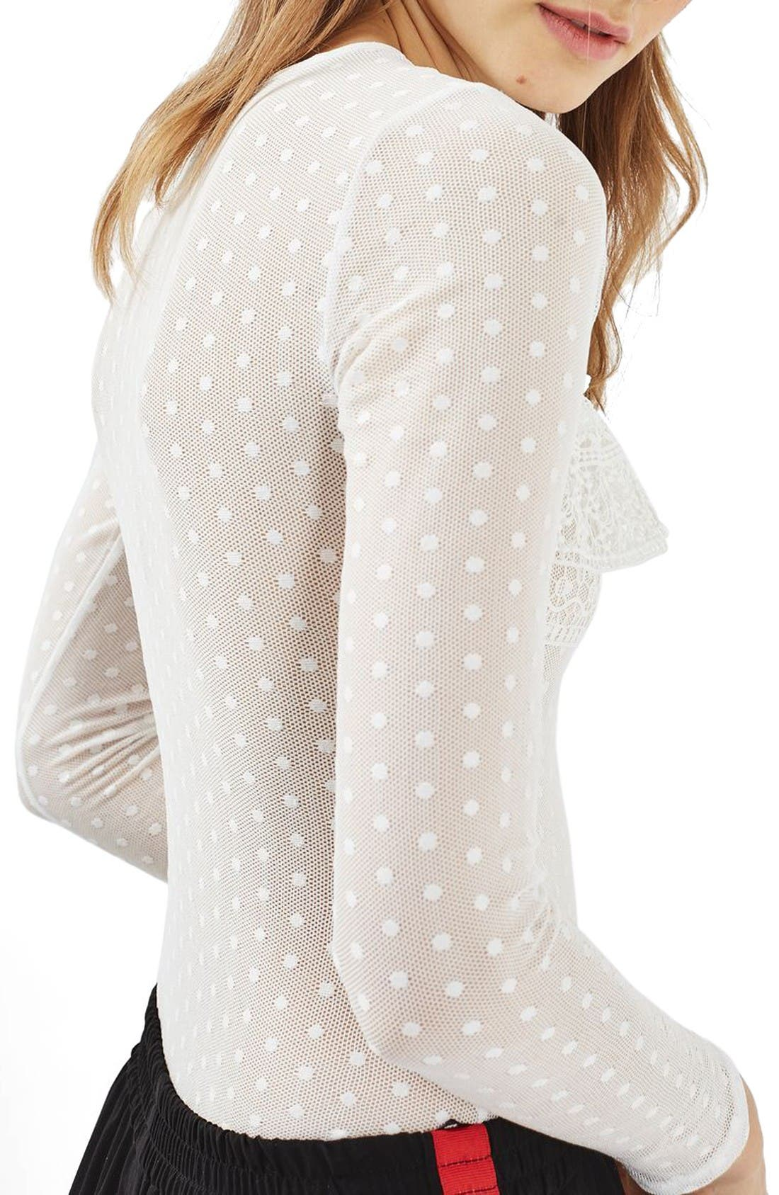 Alternate Image 3  - Topshop Polka Dot Lace Bodysuit