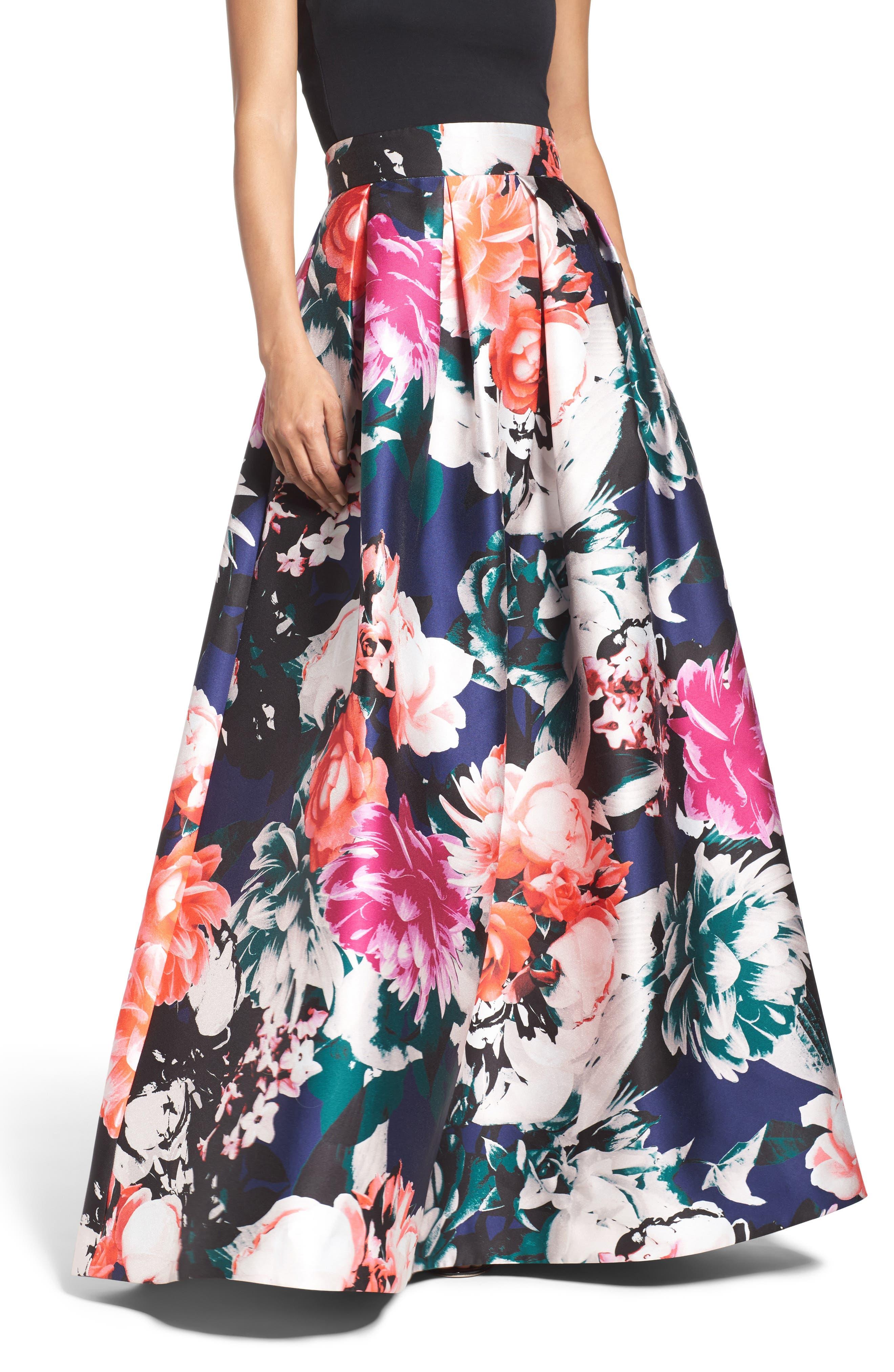 Main Image - Eliza J Floral Ball Skirt