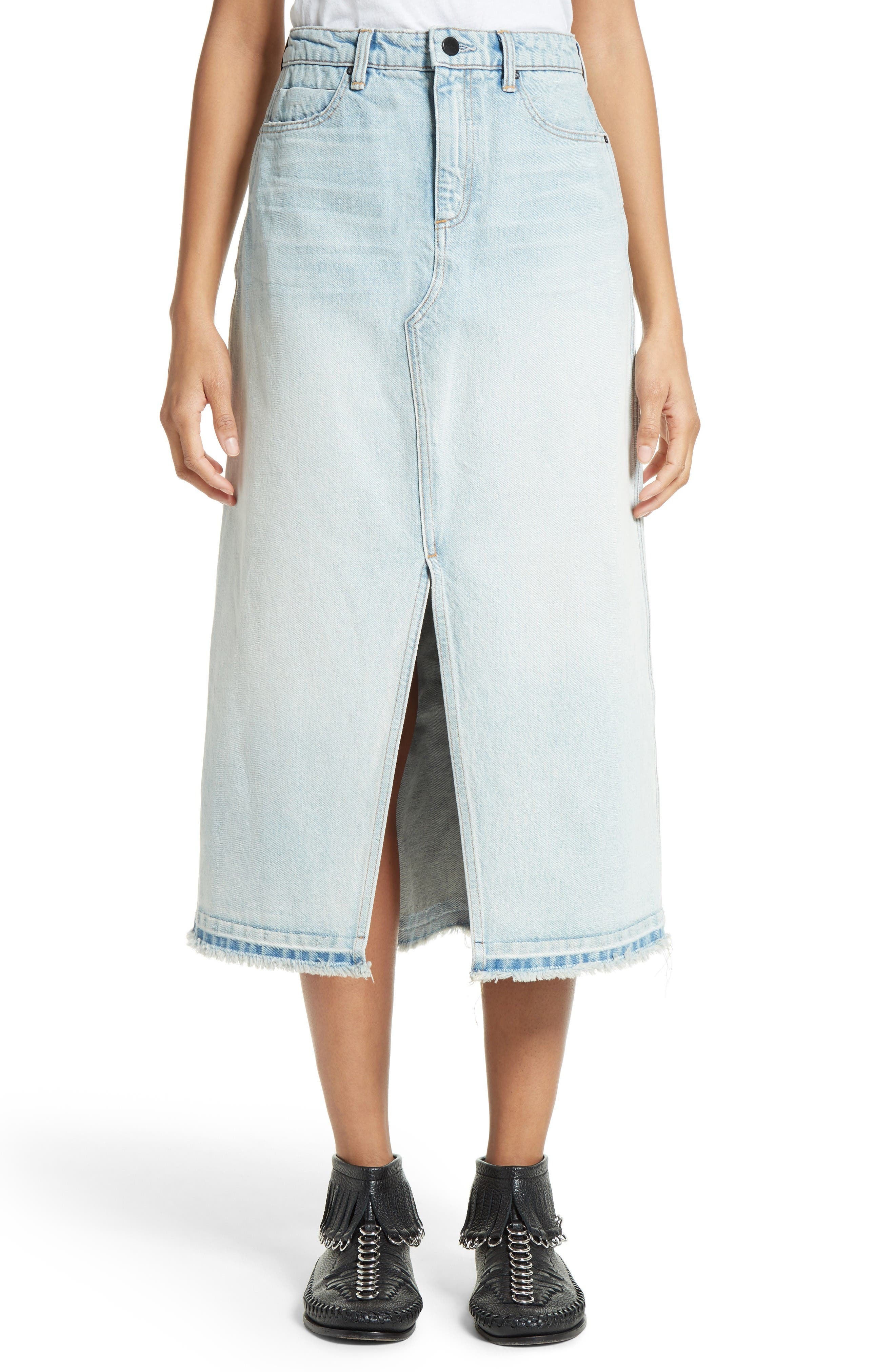 Denim x Alexander Wang Bleached Denim Midi Skirt