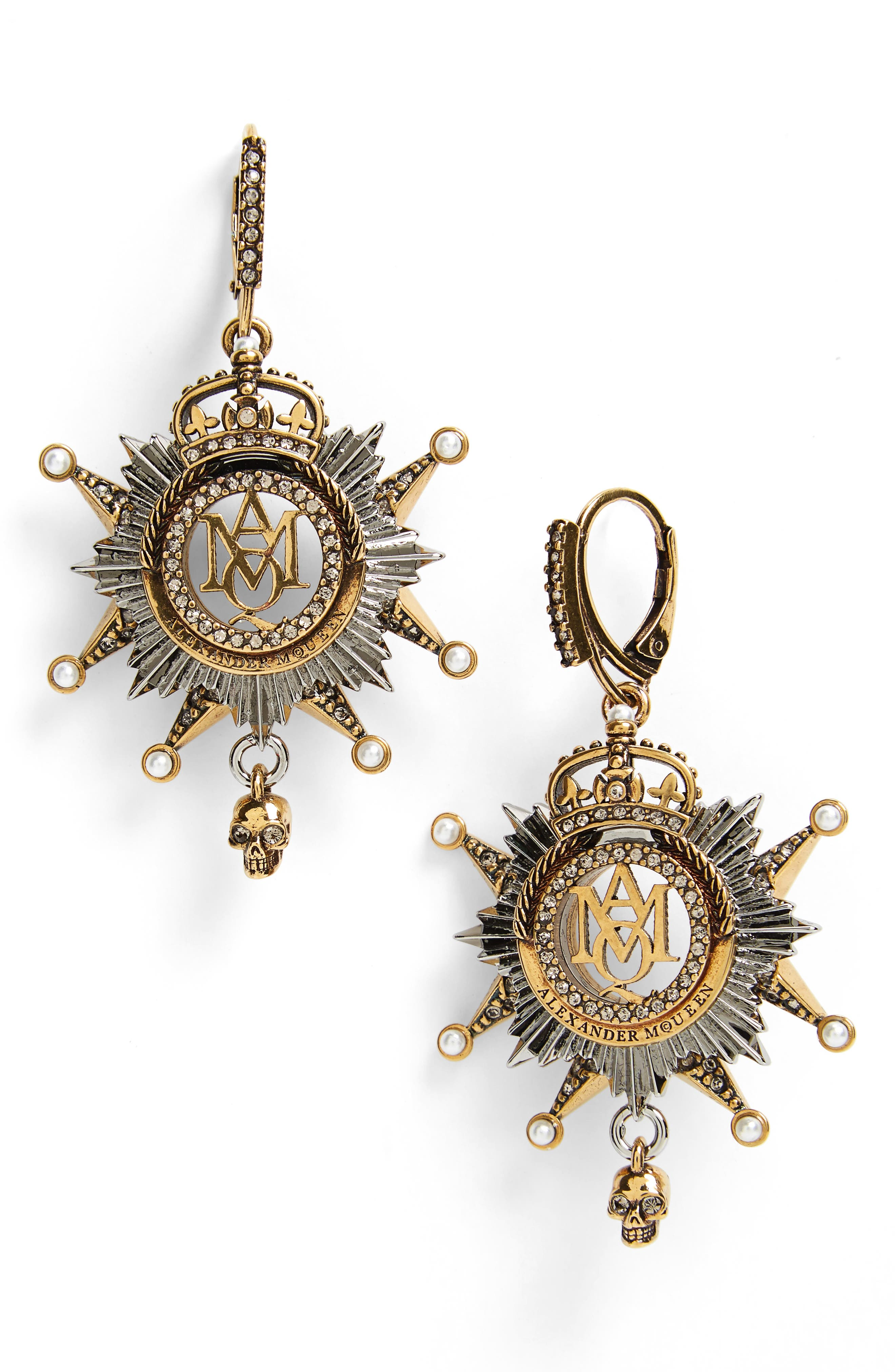 Alternate Image 1 Selected - Alexander McQueen Medallion Drop Earrings