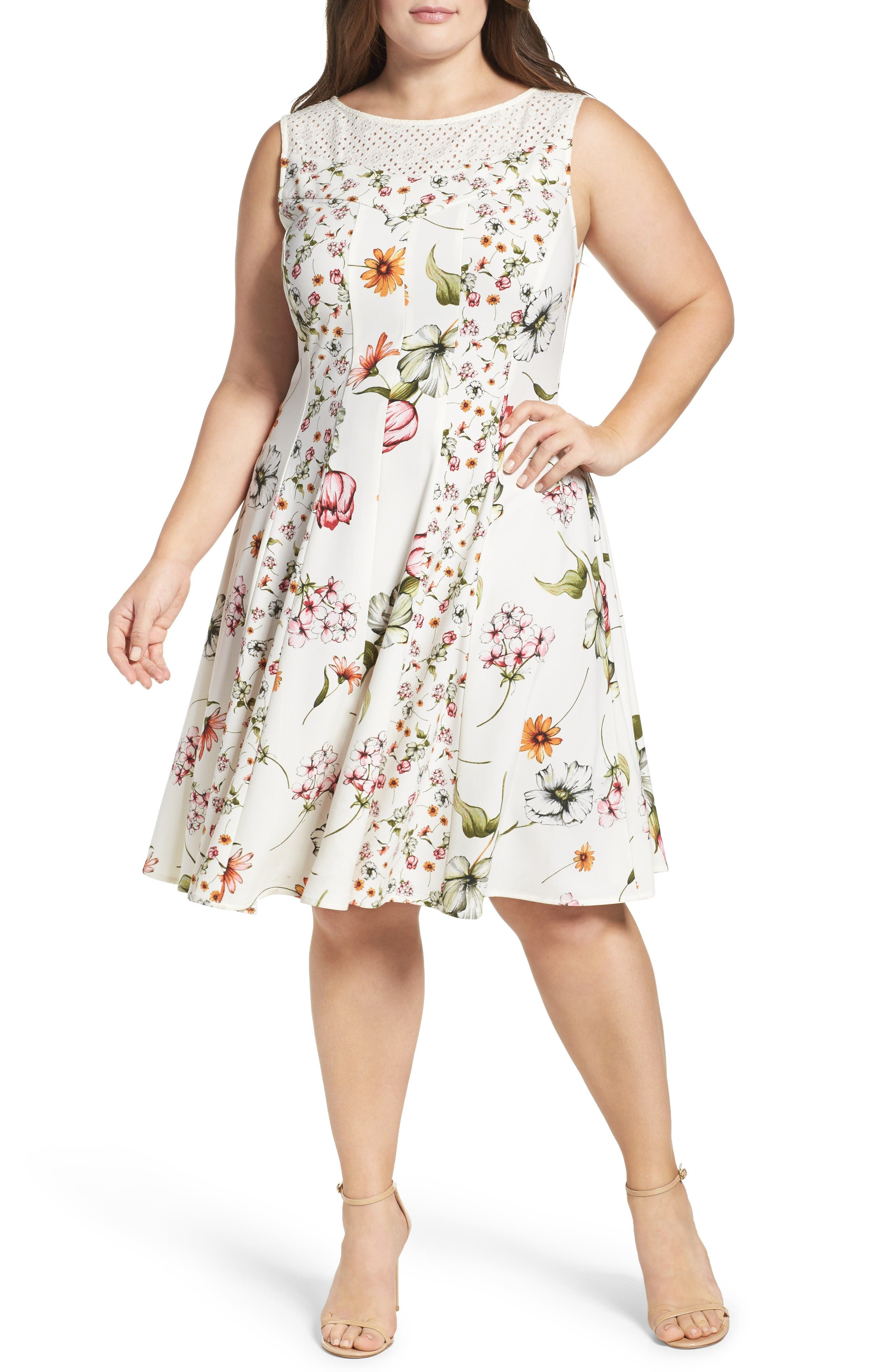 Main Image - Gabby Skye Floral Print Fit & Flare Dress (Plus Size)