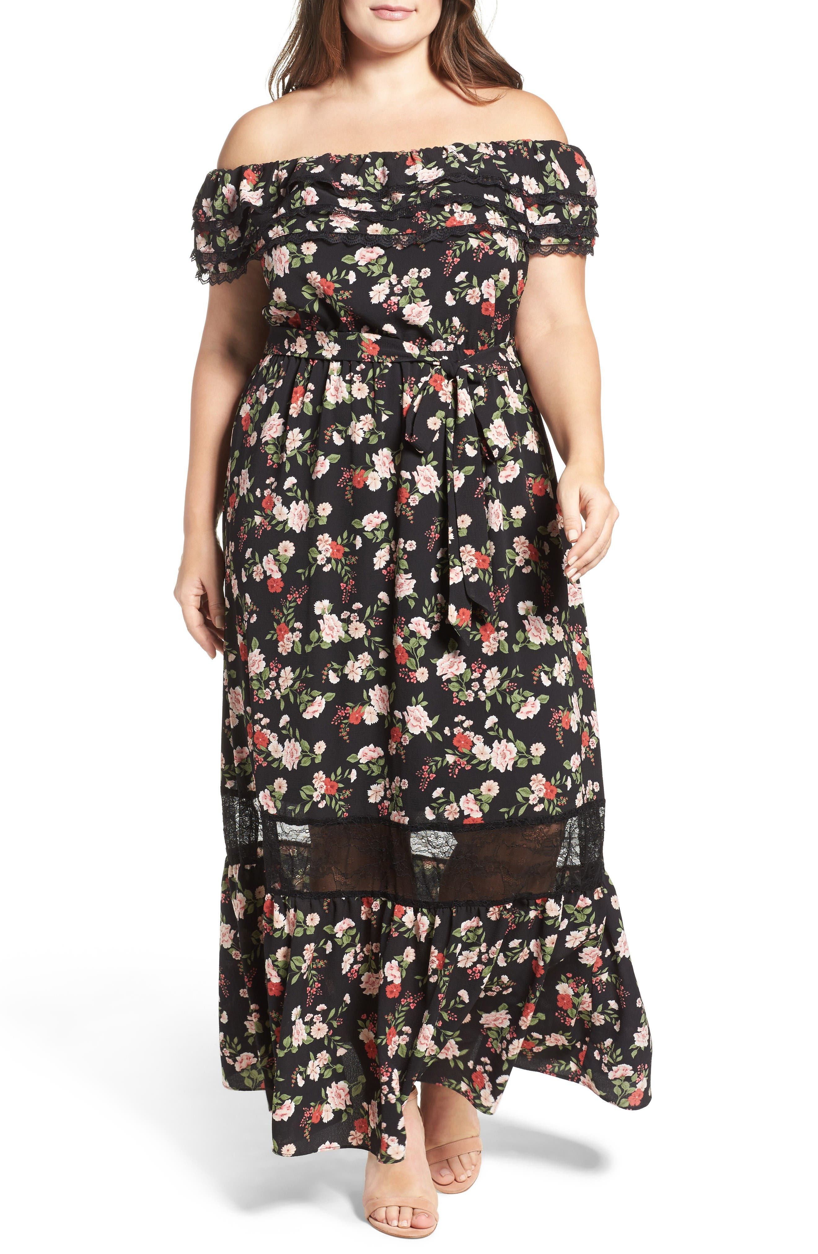 City Chic Free Love Floral Off the Shoulder Maxi Dress (Plus Size)