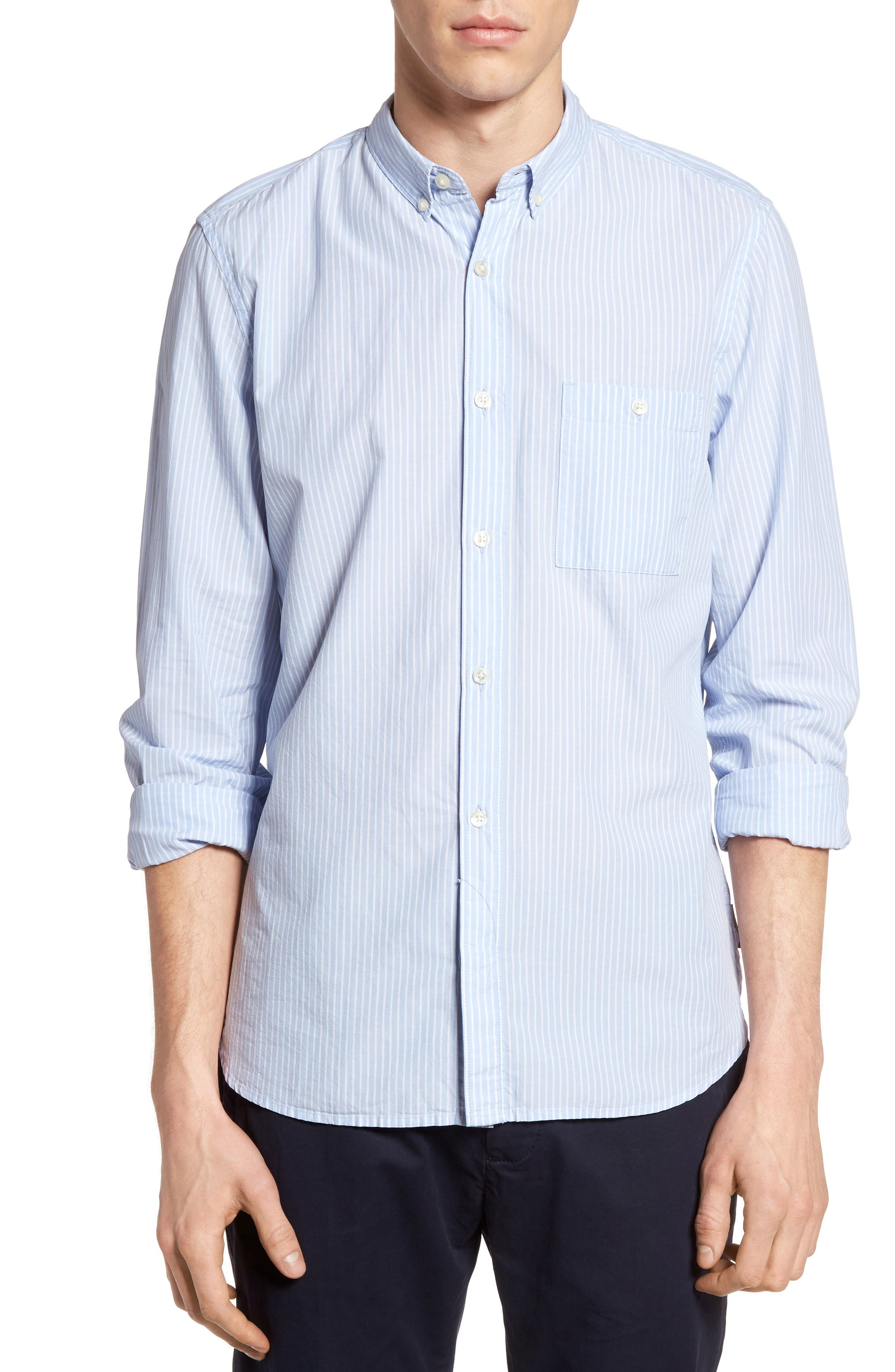 FRENCH CONNECTION Slim Fit Poplin Stripe Sport Shirt