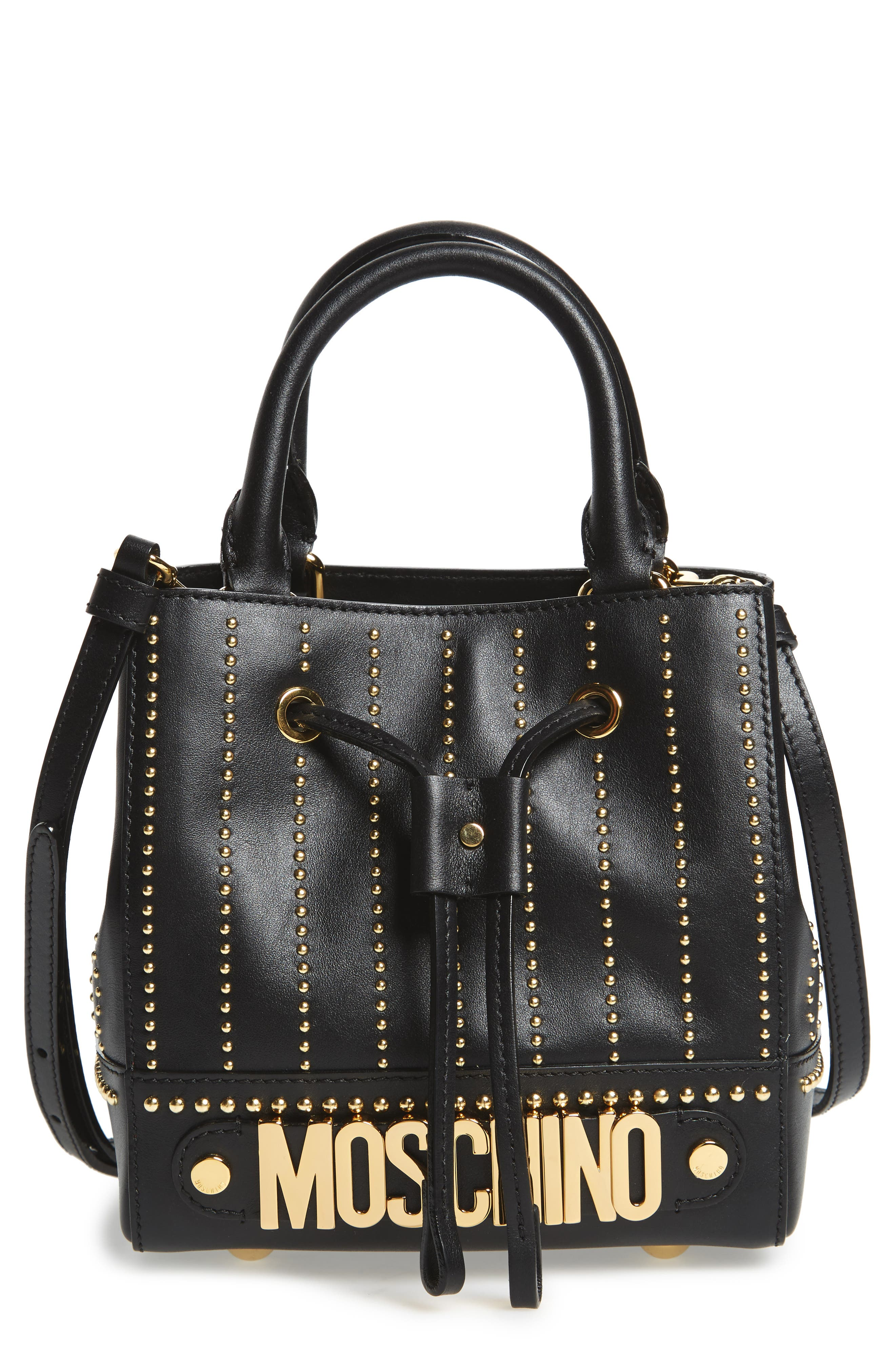 Main Image - Moschino Studded Leather Bucket Bag