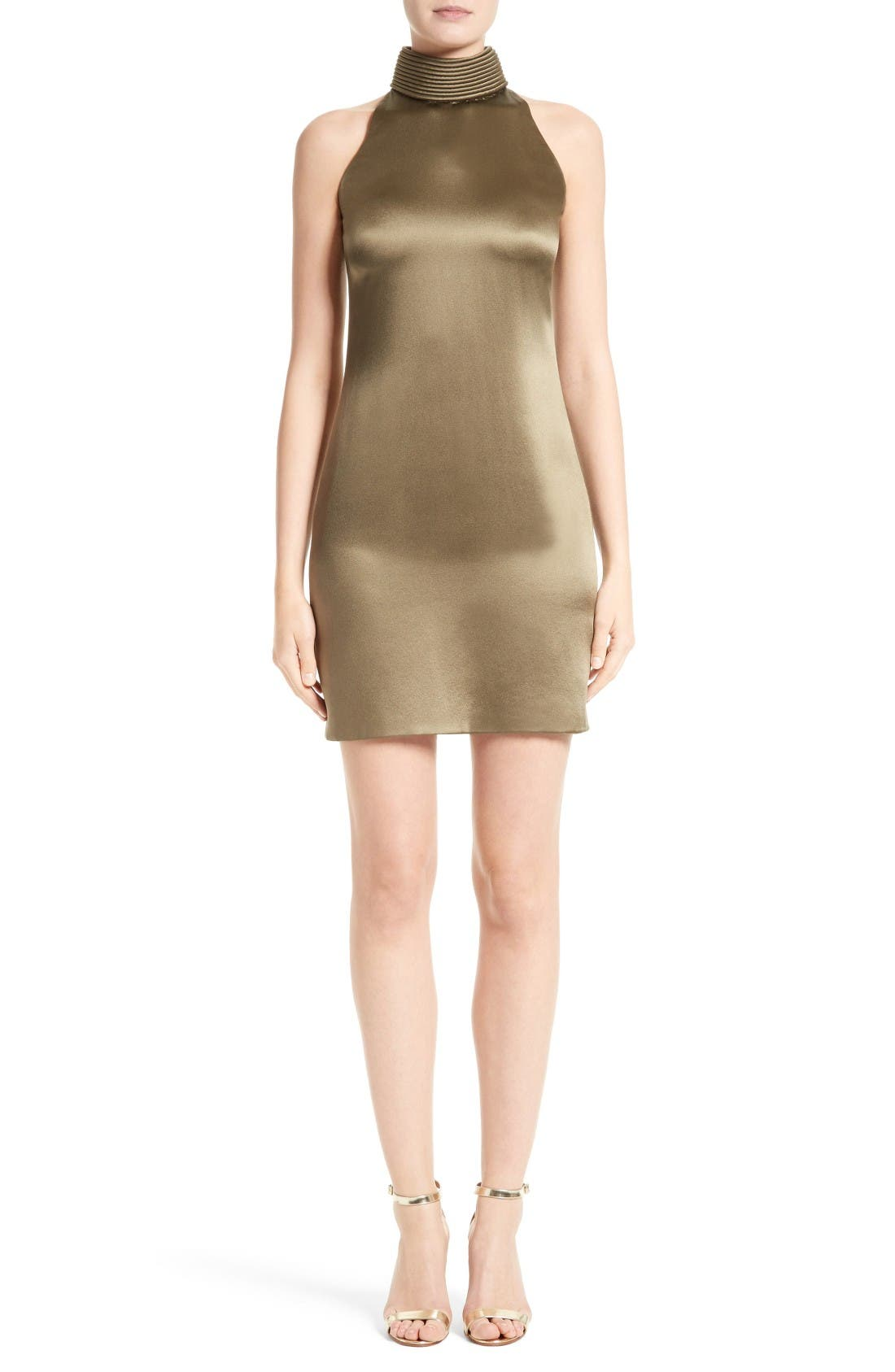 BRANDON MAXWELL Piped Neck Shift Dress