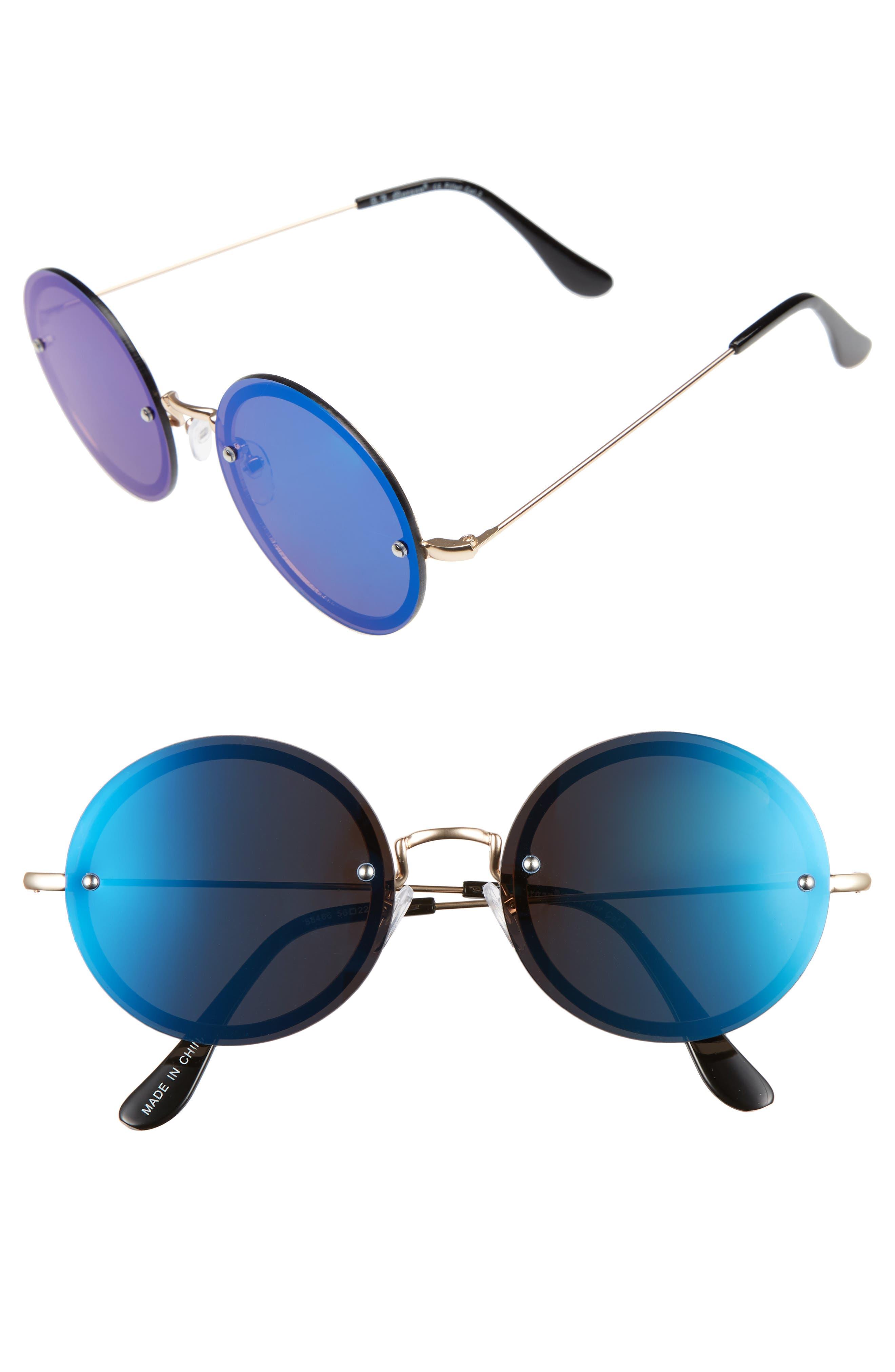 A.J. Morgan 56mm Rimless Round Sunglasses
