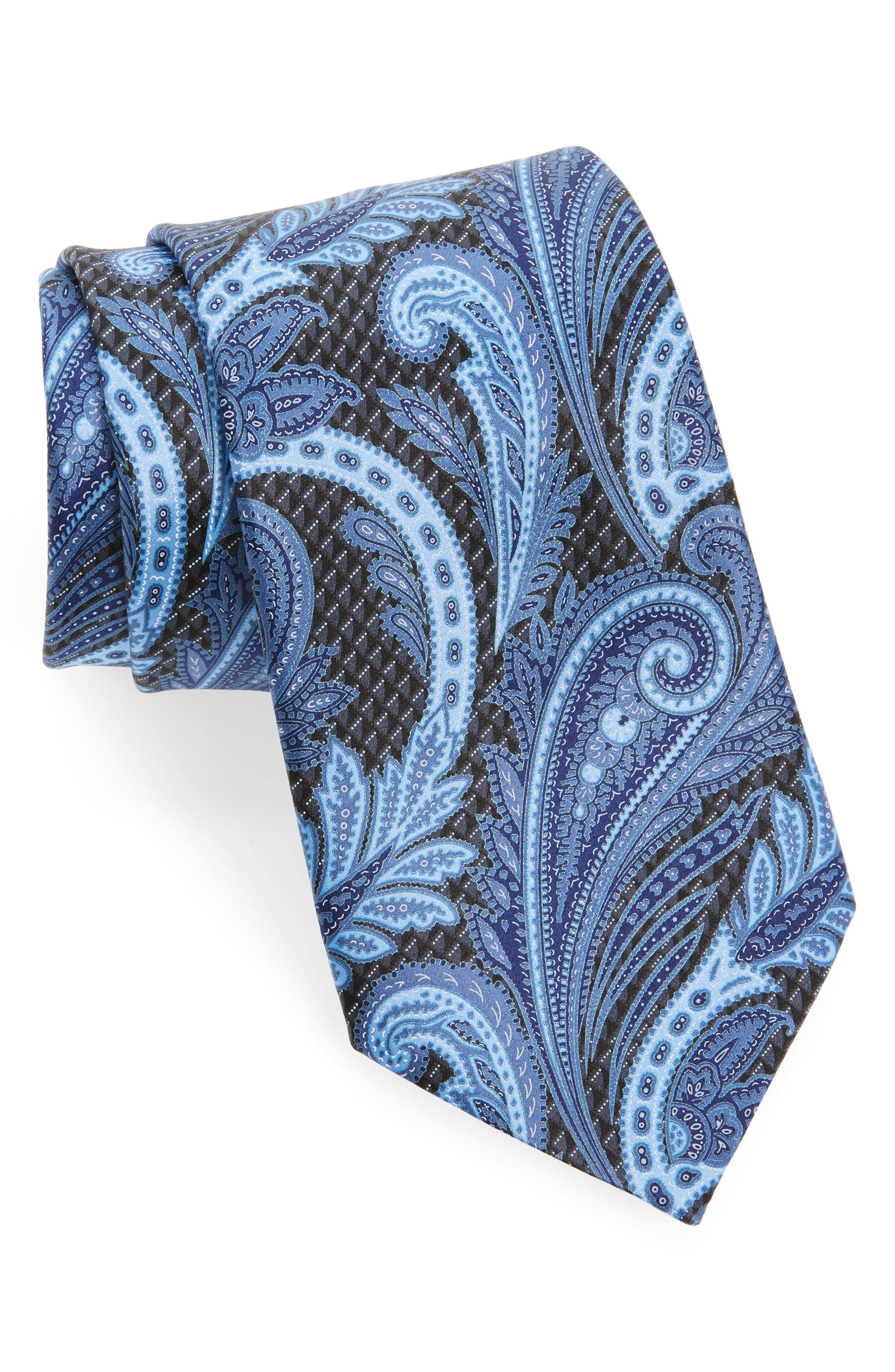 ERMENEGILDO ZEGNA Paisley Floral Silk Tie