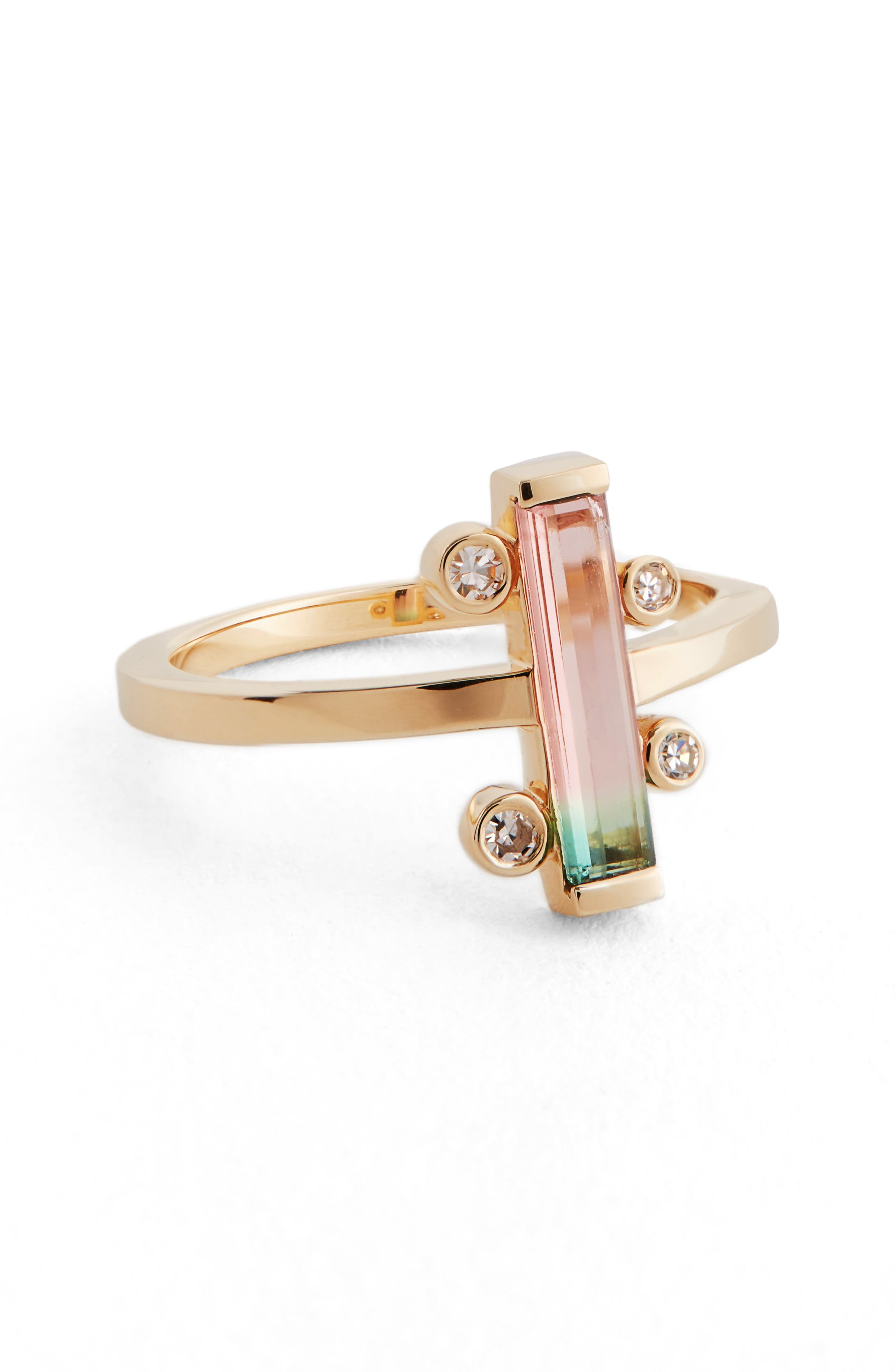 MOCIUN Watermelon Tourmaline & Diamond Ring