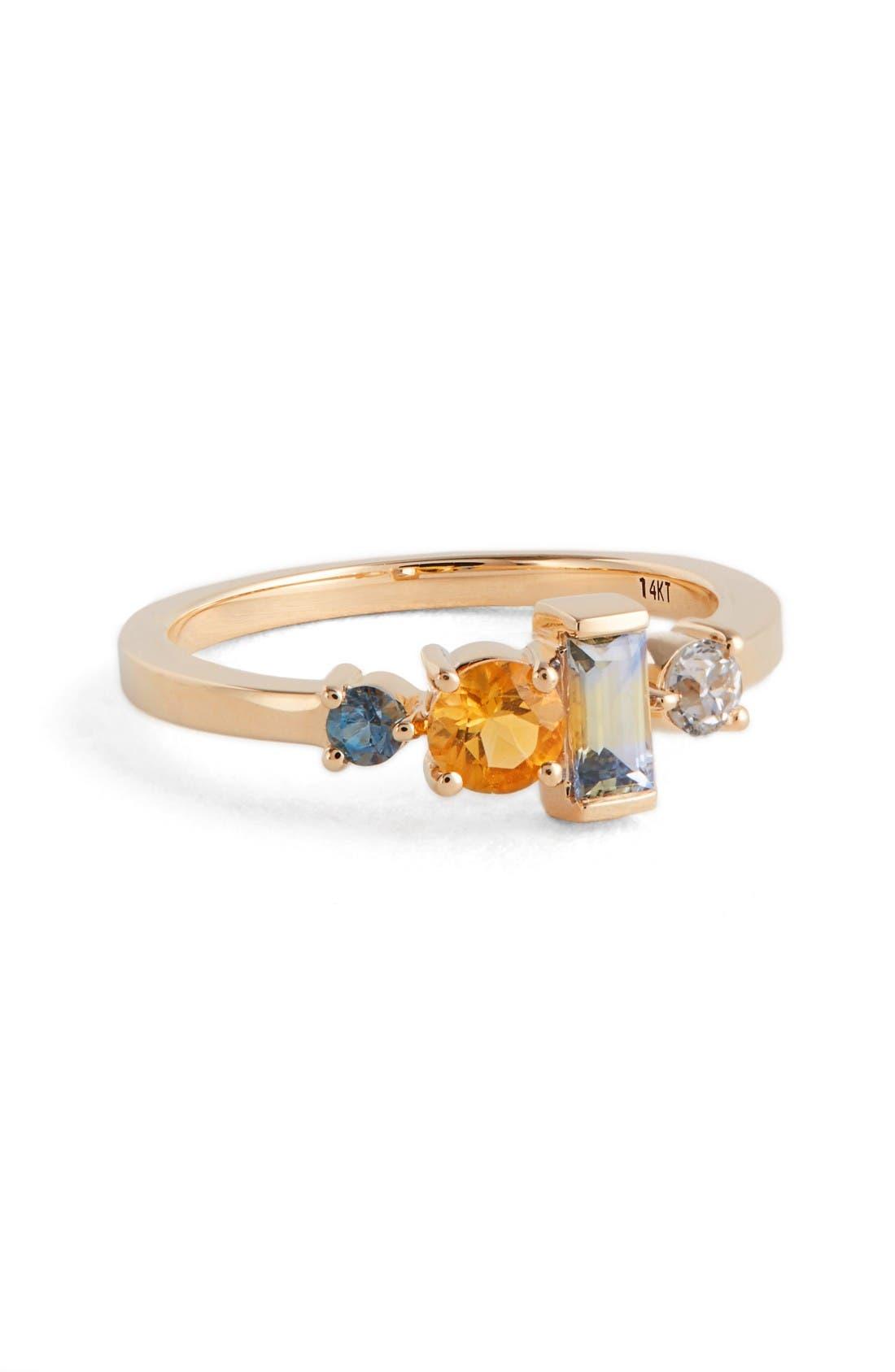MOCIUN Sapphire, Citrine, Diamond & Aquamarine Ring