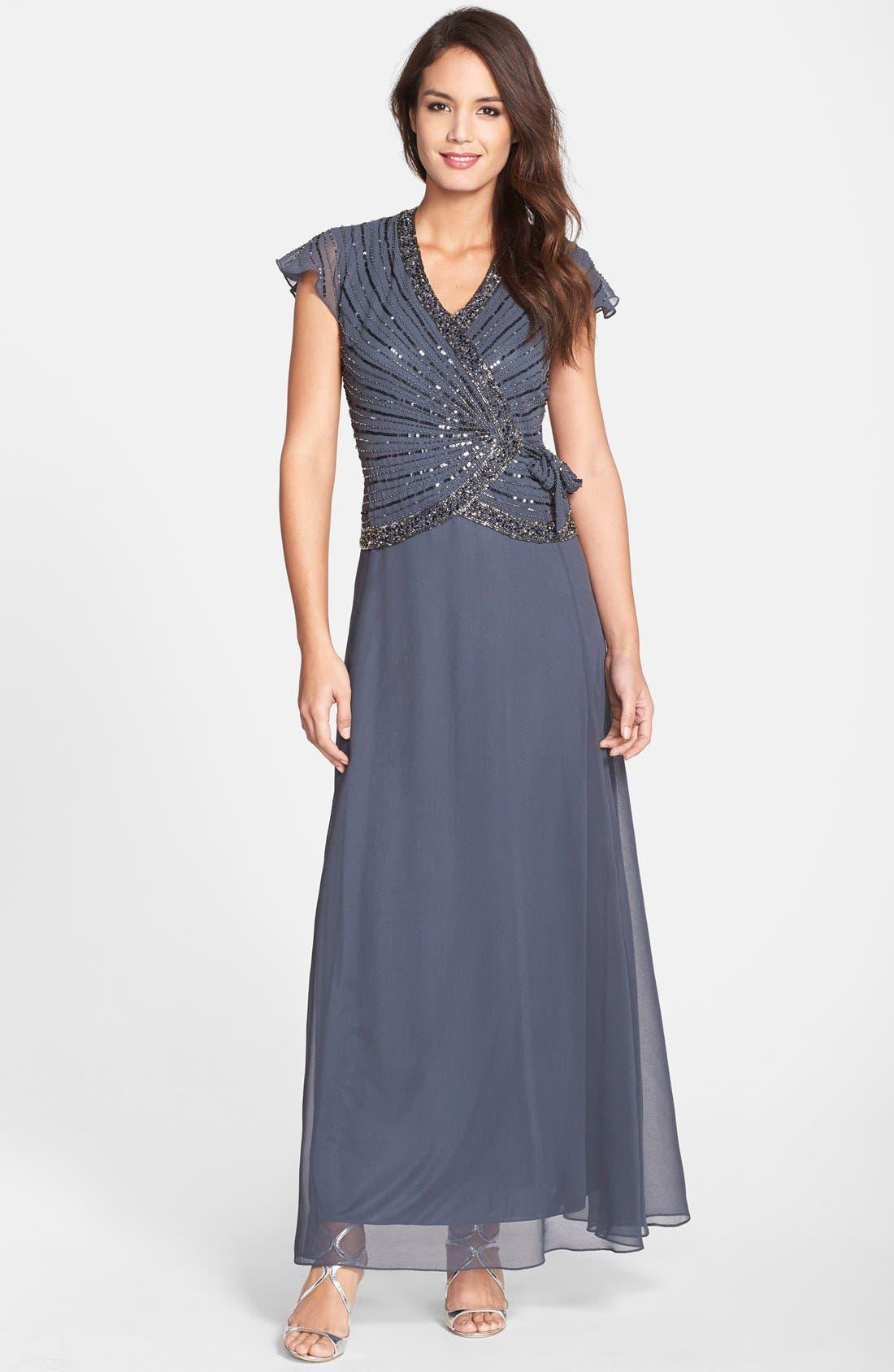Main Image - J Kara Embellished Mock Two-Piece Gown