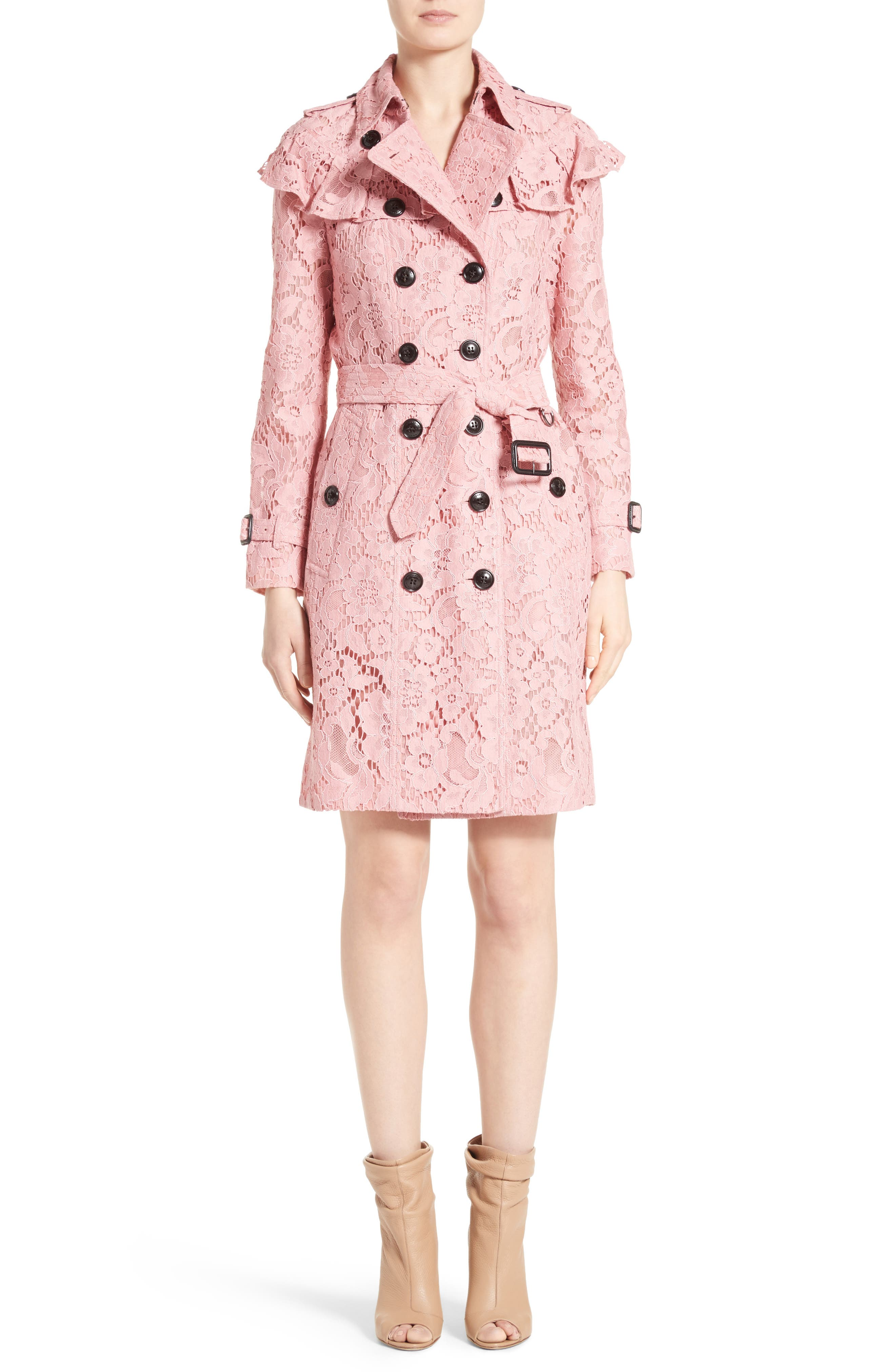 Alternate Image 1  - Burberry Stanhill Ruffle Lace Trench Coat