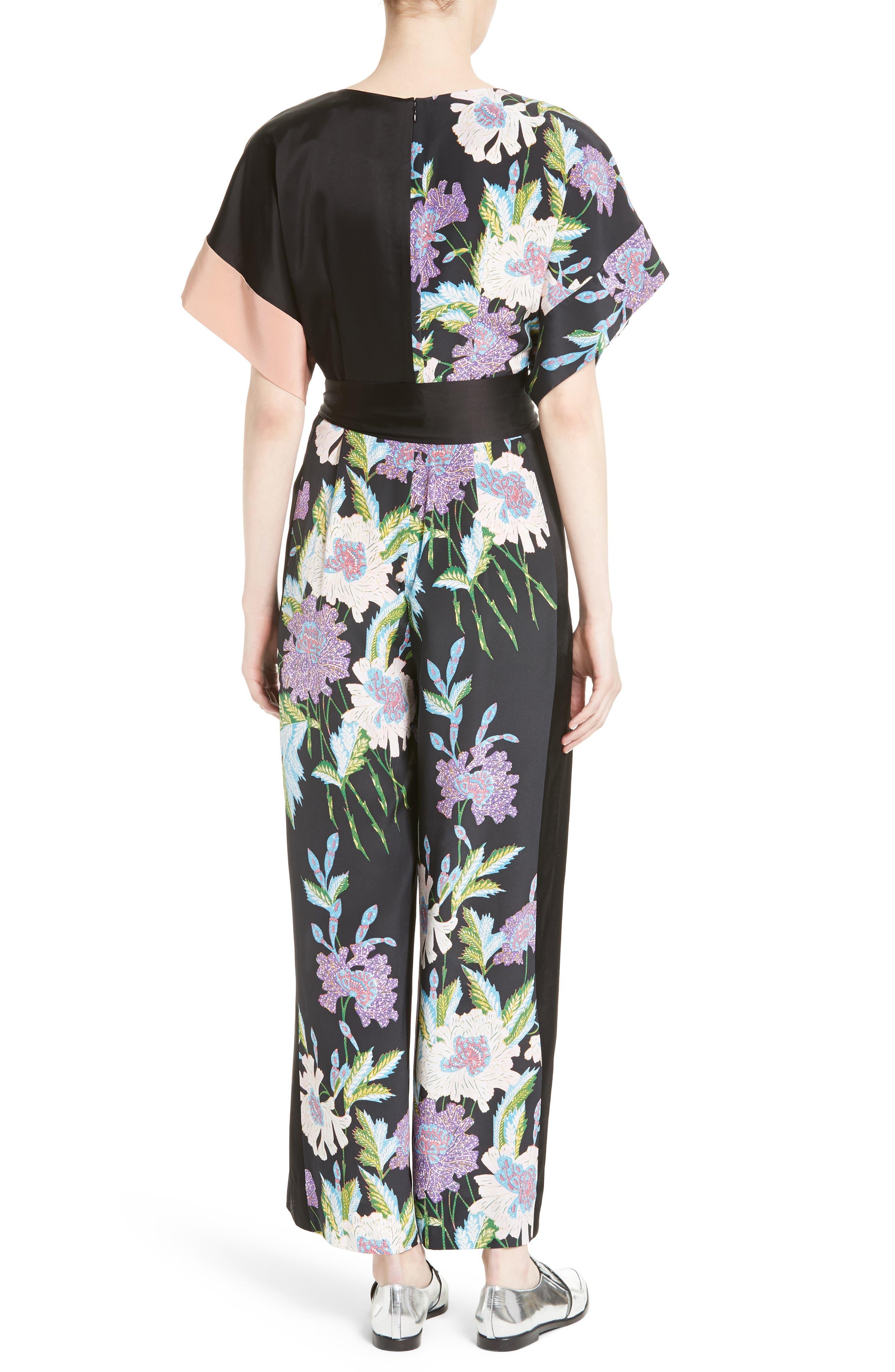 Alternate Image 2  - Diane von Furstenberg Faux Wrap Silk Jumpsuit