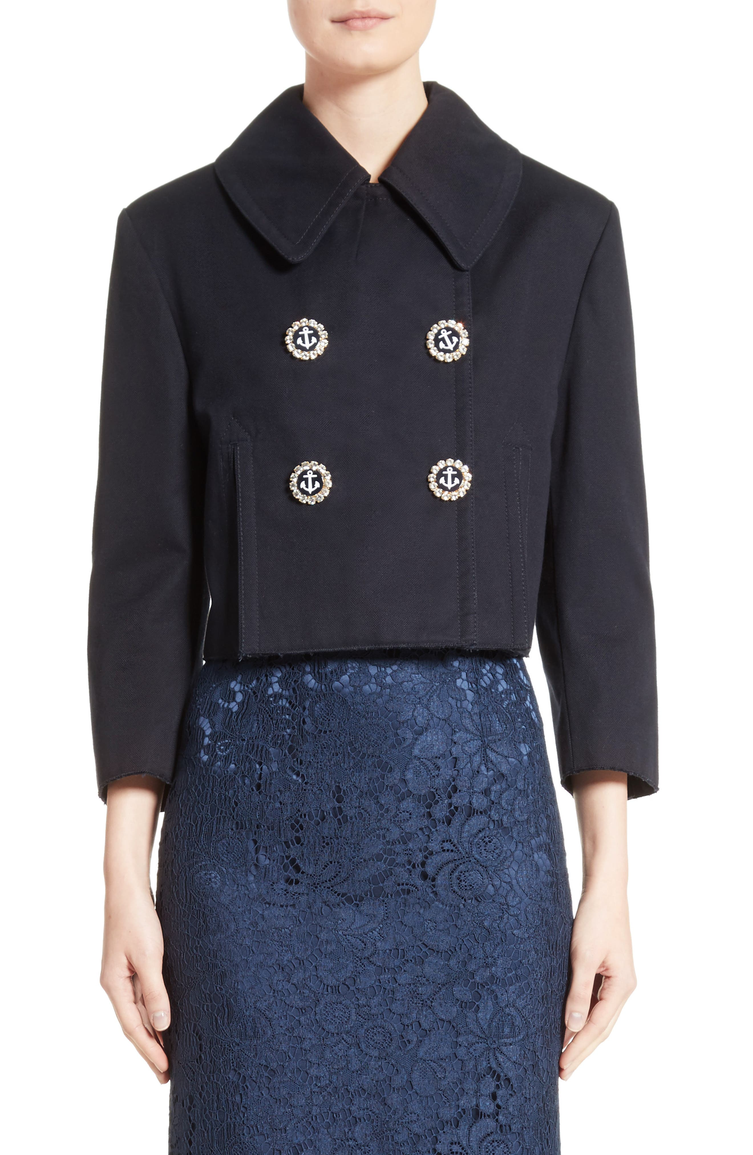 Alternate Image 1 Selected - Dolce&Gabbana Piqué Cotton Crop Jacket