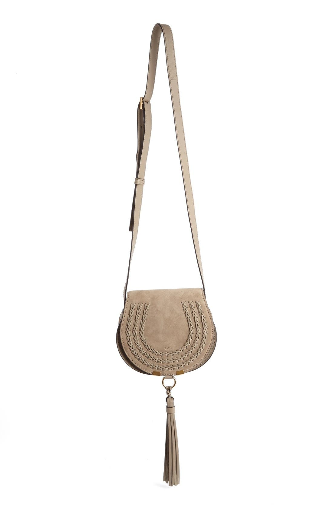 Main Image - Chloé 'Mini Marcie' Suede Saddle Bag