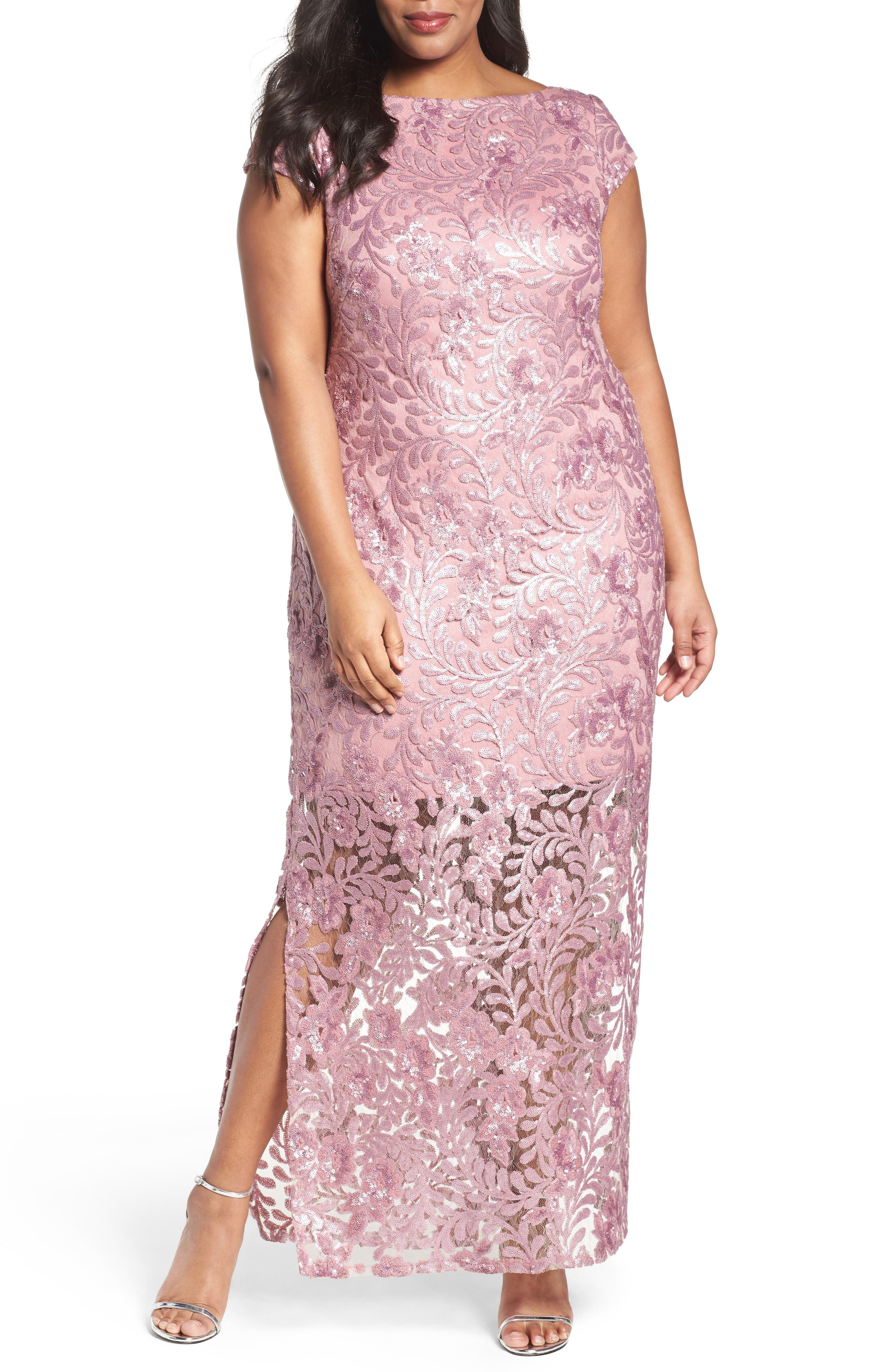 Alternate Image 1 Selected - Brianna Sequin Lace Column Gown (Plus Size)