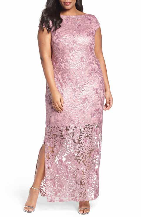 Brianna Sequin Lace Column Gown (Plus Size)