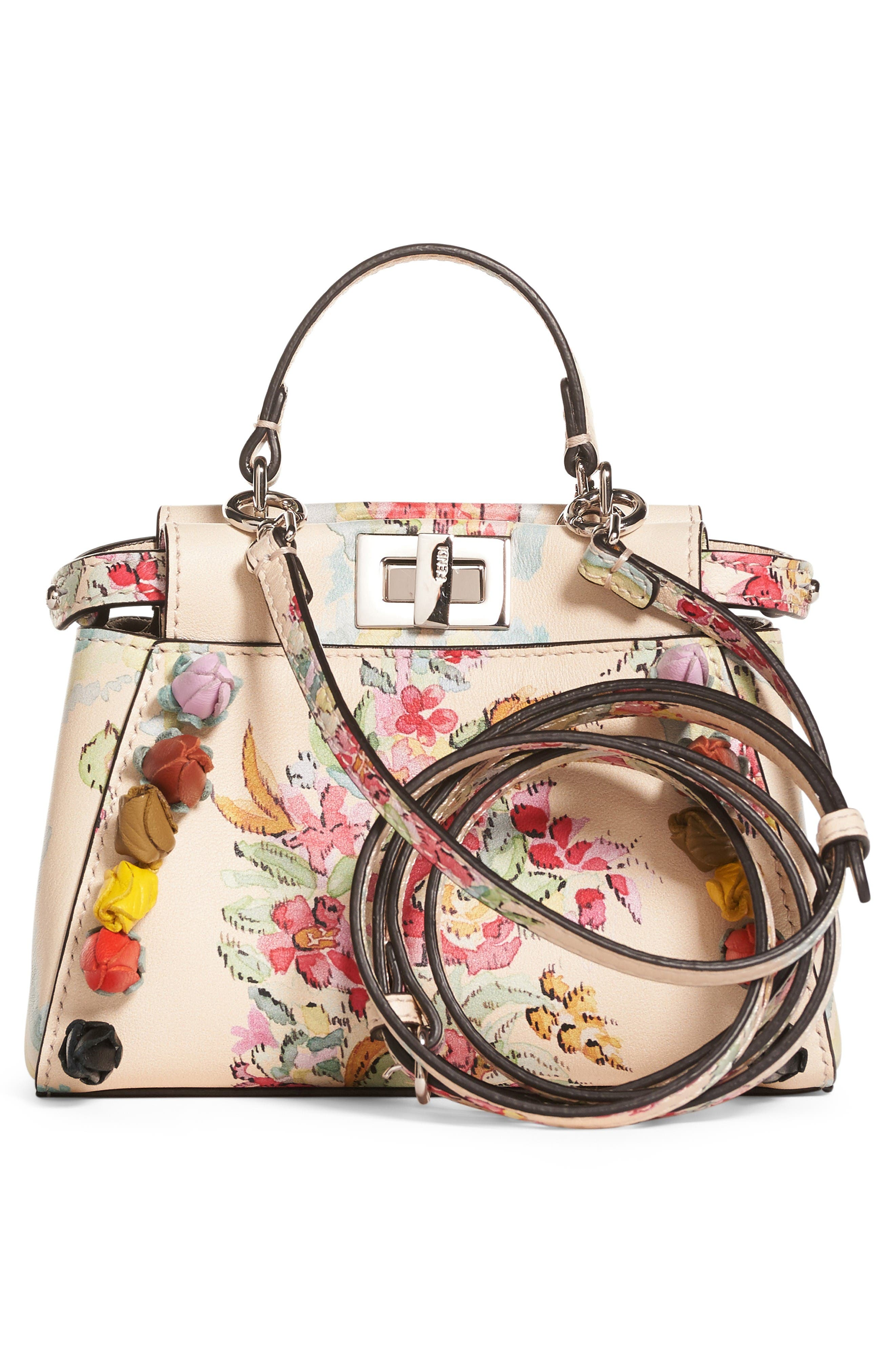 Alternate Image 2  - Fendi Micro Peekaboo Floral Appliqué Leather Satchel