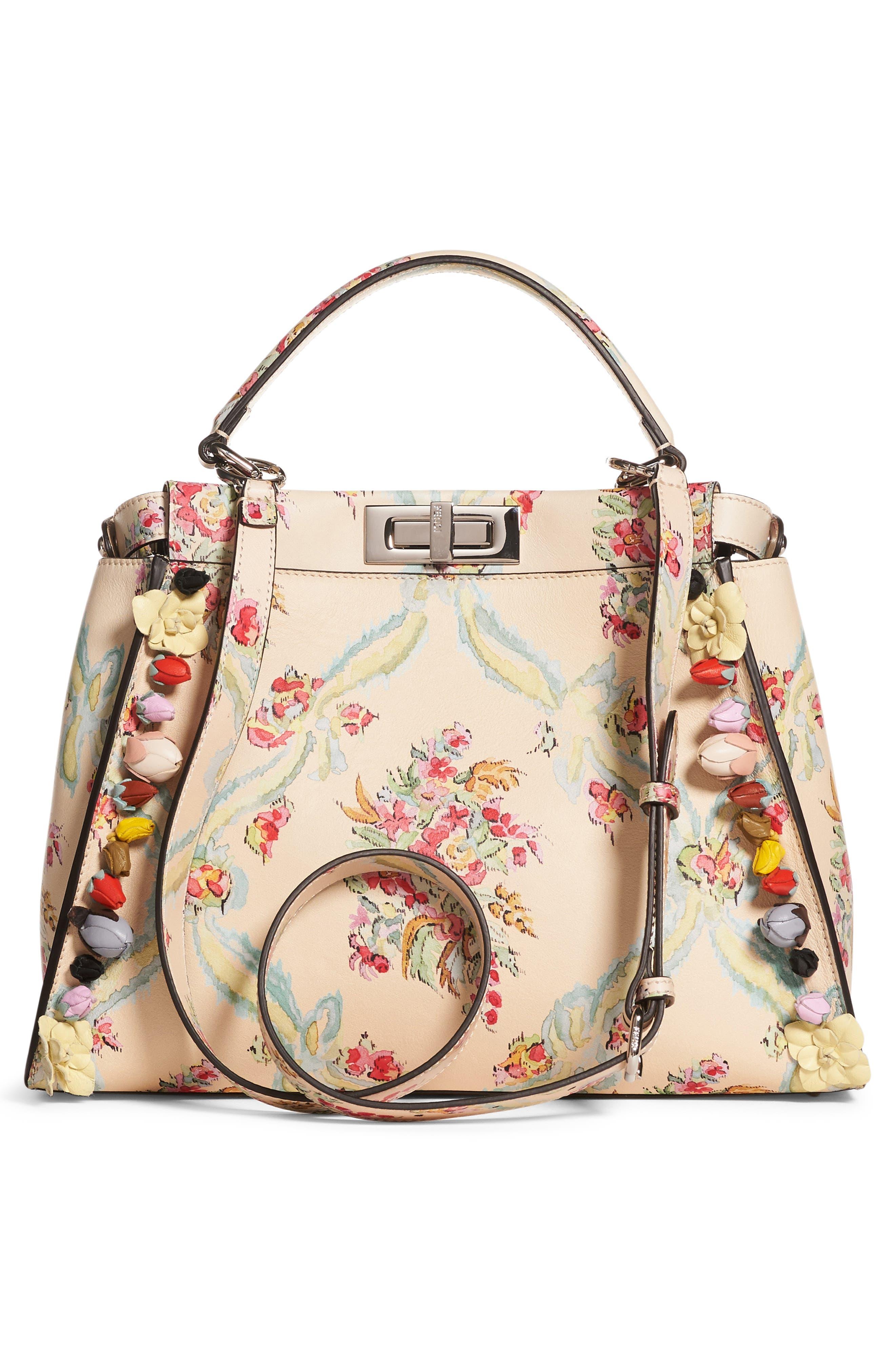 Alternate Image 2  - Fendi Medium Peekaboo Floral Appliqué Leather Satchel
