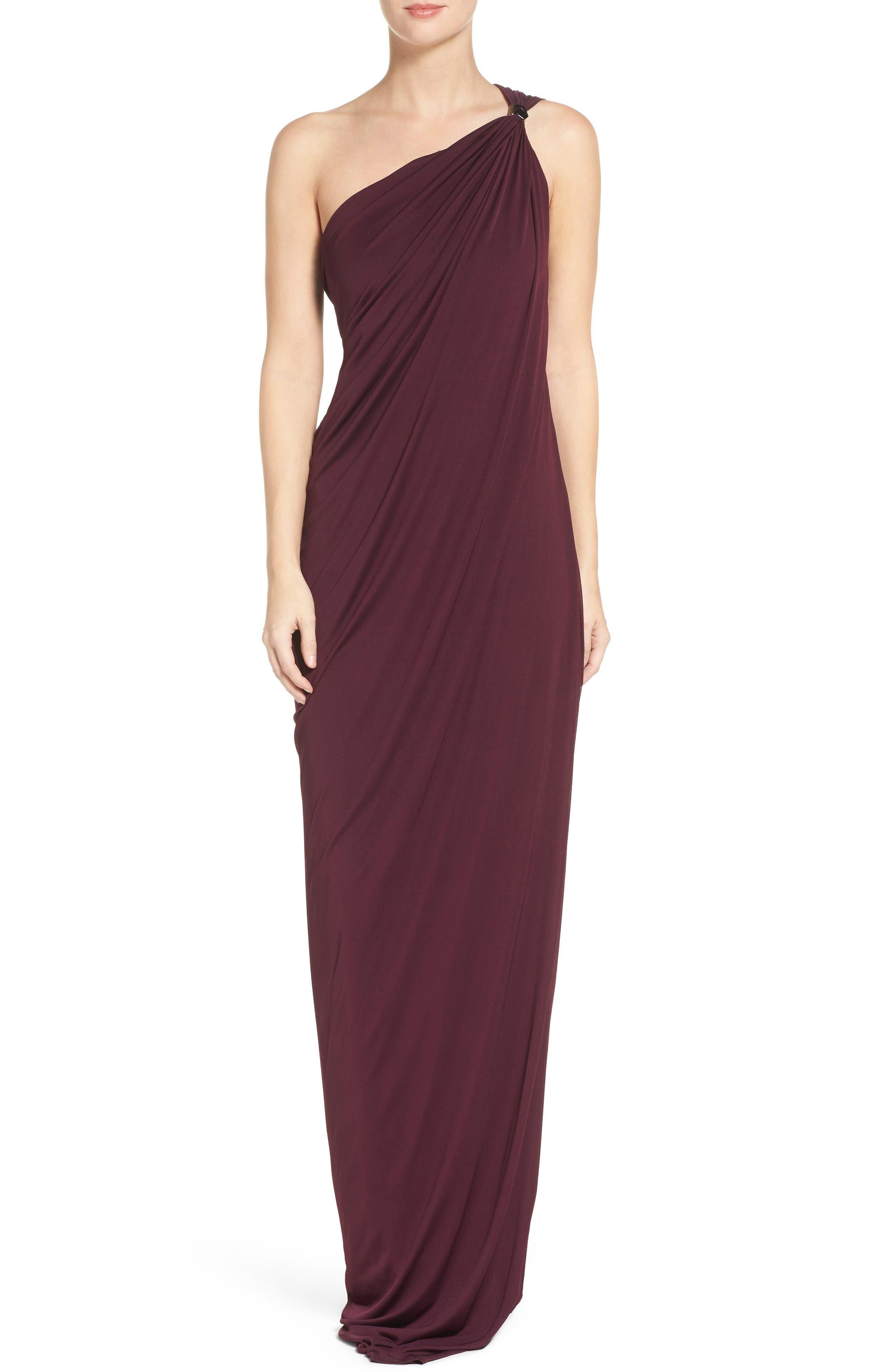 Halston Heritage One-Shoulder Gown