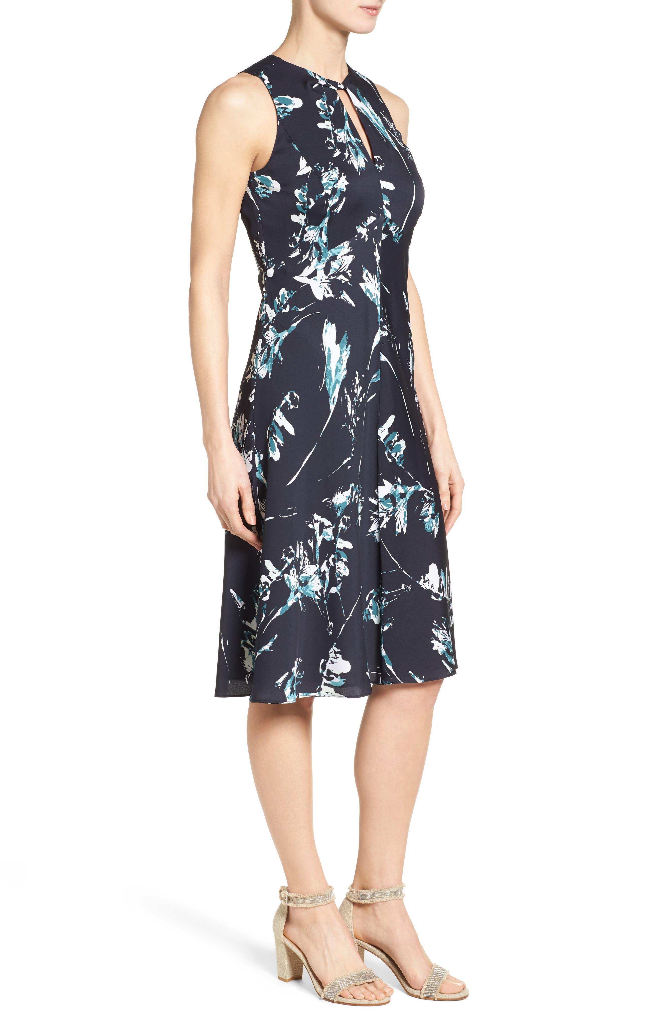 Alternate Image 3  - Classiques Entier® Print Stretch Silk Twist Neck Dress