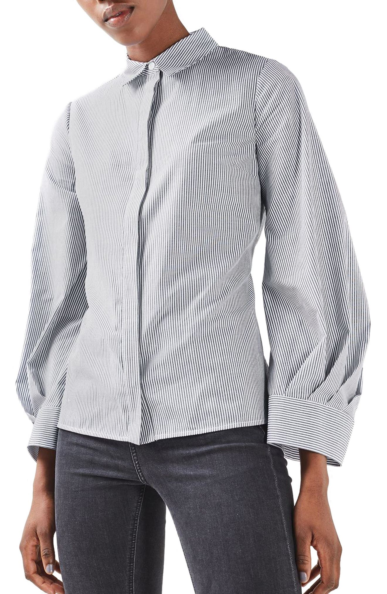 TOPSHOP Extreme Cuff Tie Back Shirt