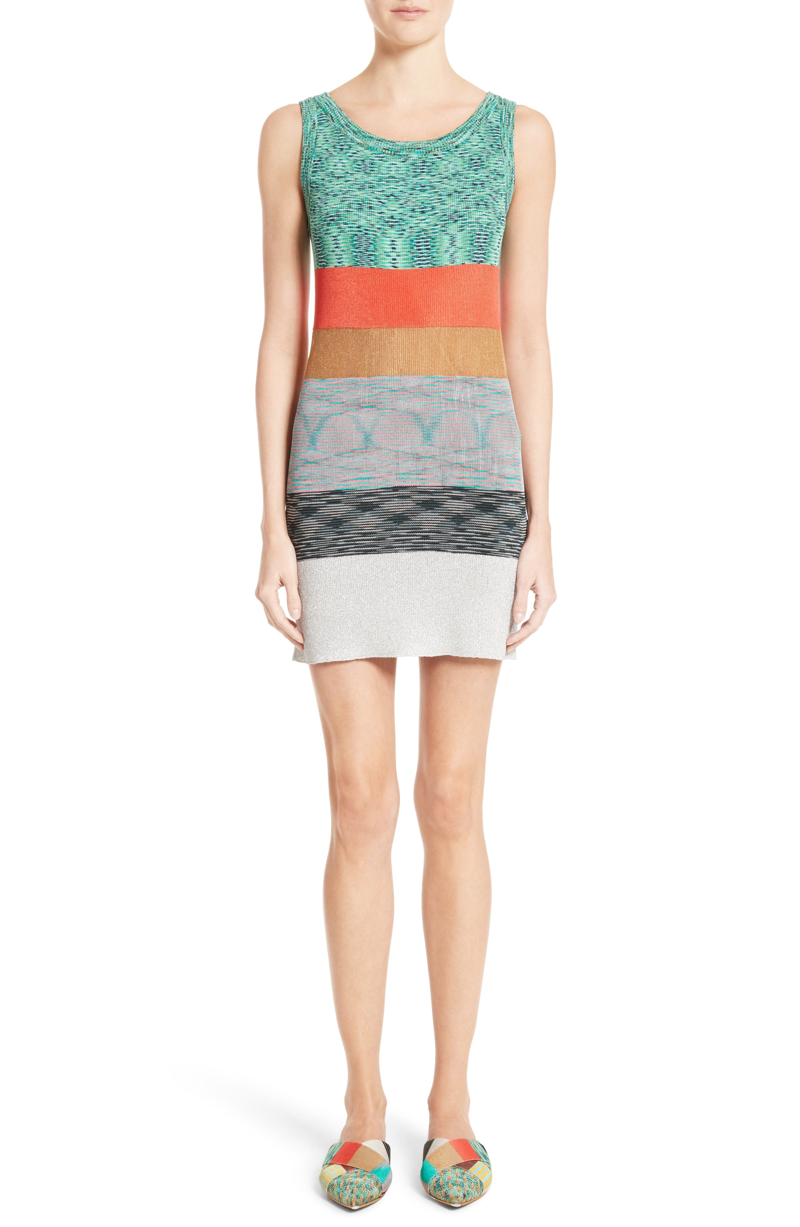 MISSONI Space Dye Stripe Knit Tank Dress