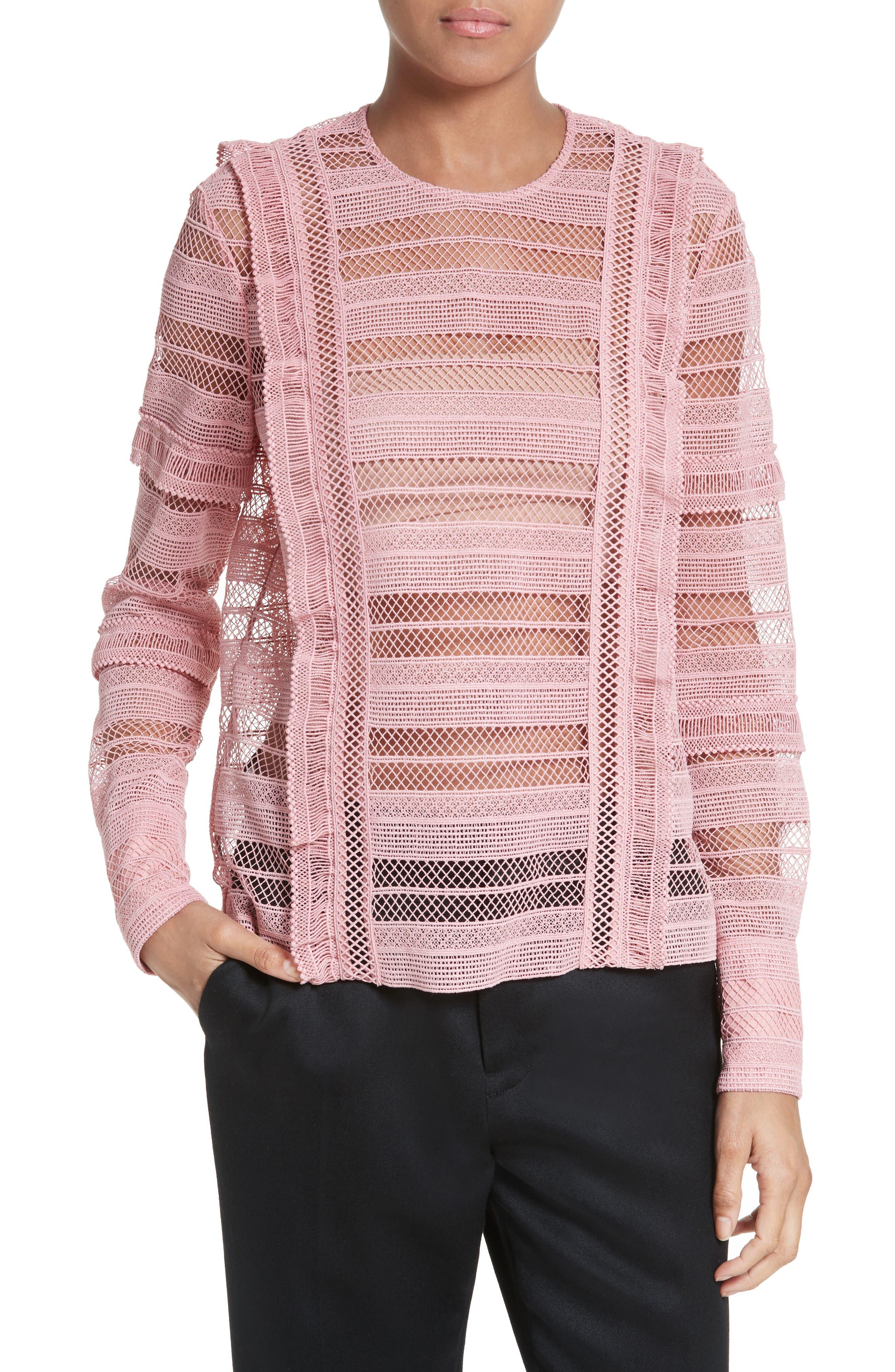 SELF-PORTRAIT Stripe Lace Top