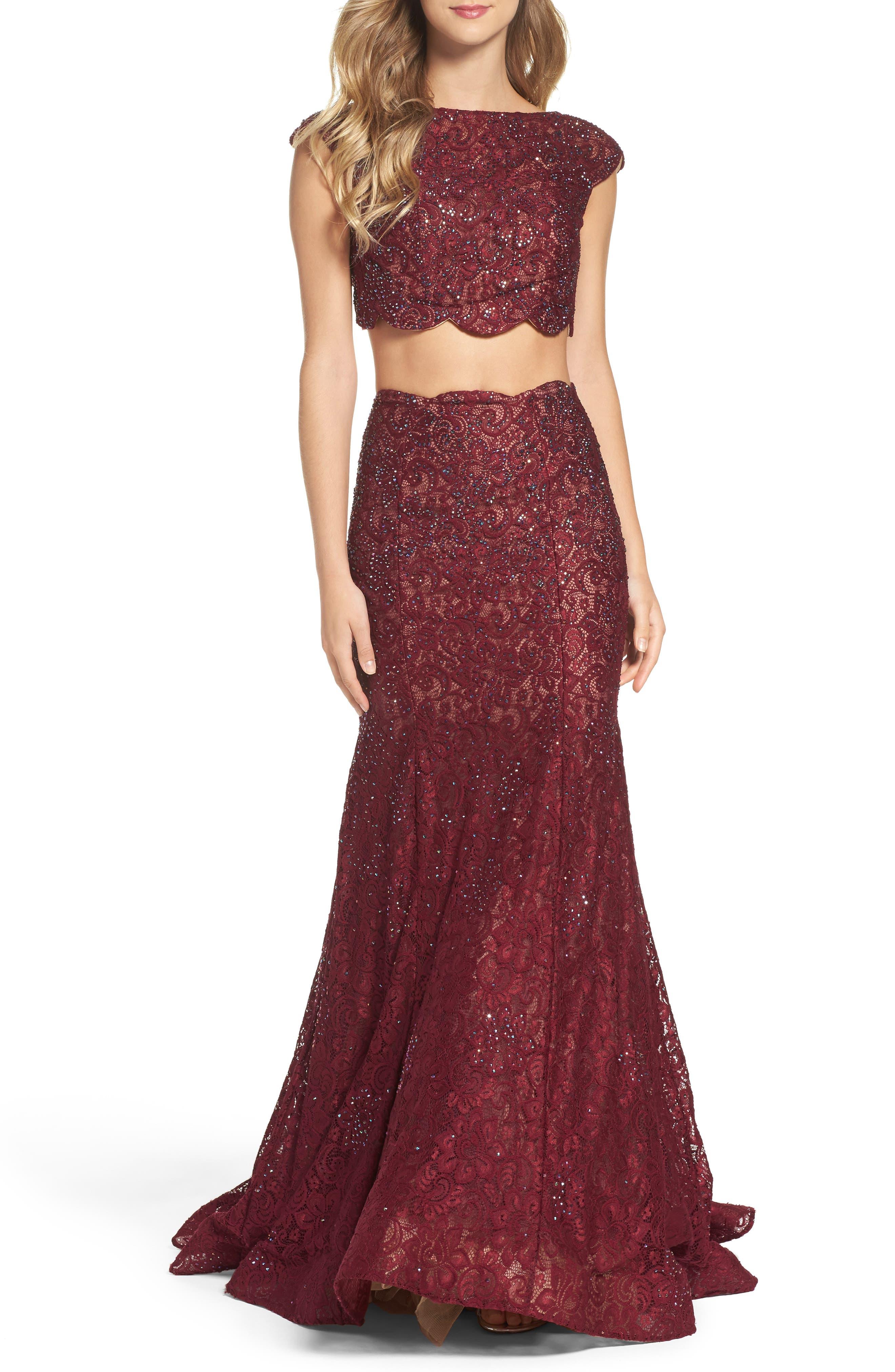 LA FEMME Sparkle Lace Two-Piece Gown