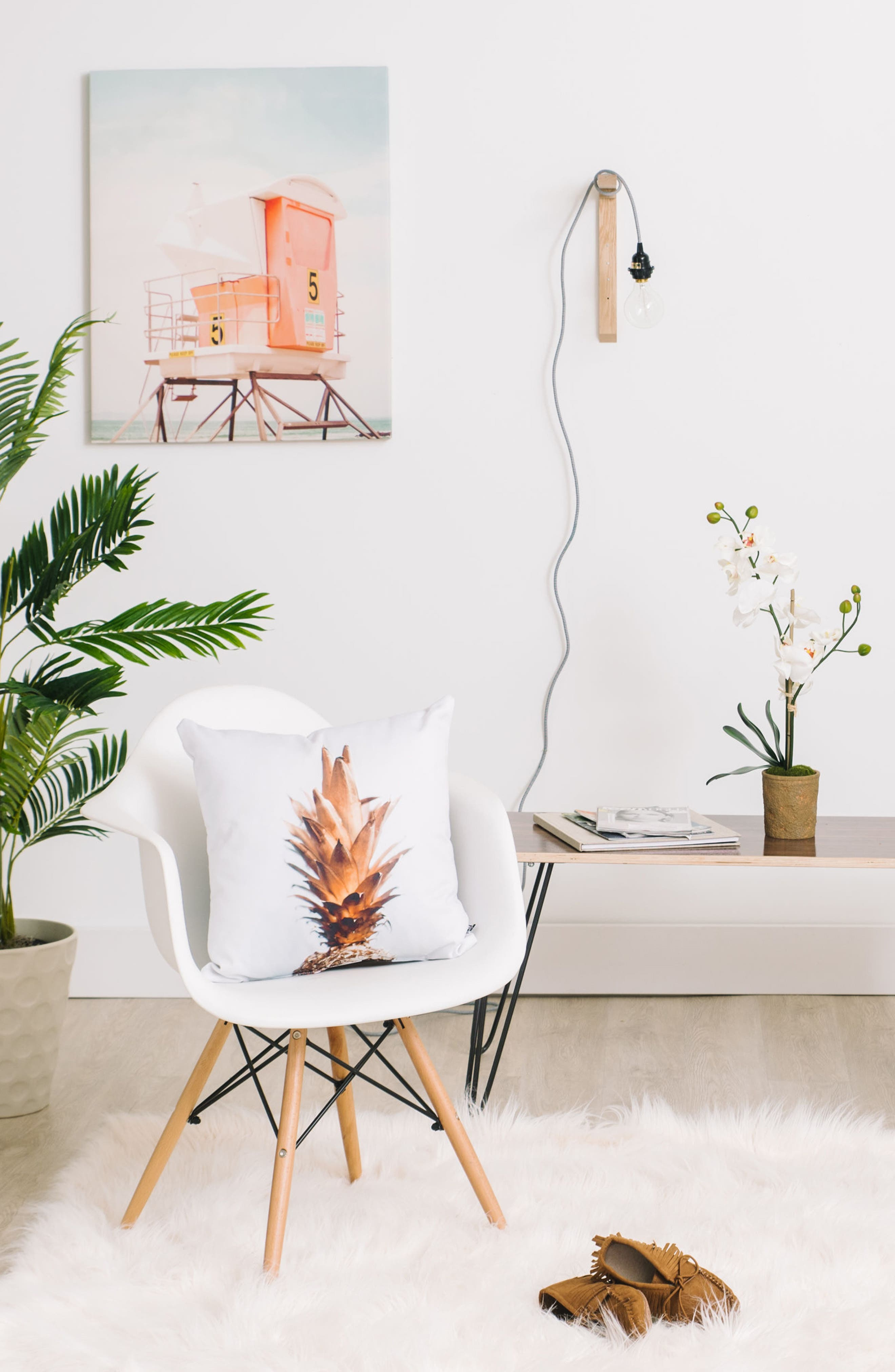 Alternate Image 2  - DENY Designs Gold Pineapple Pillow