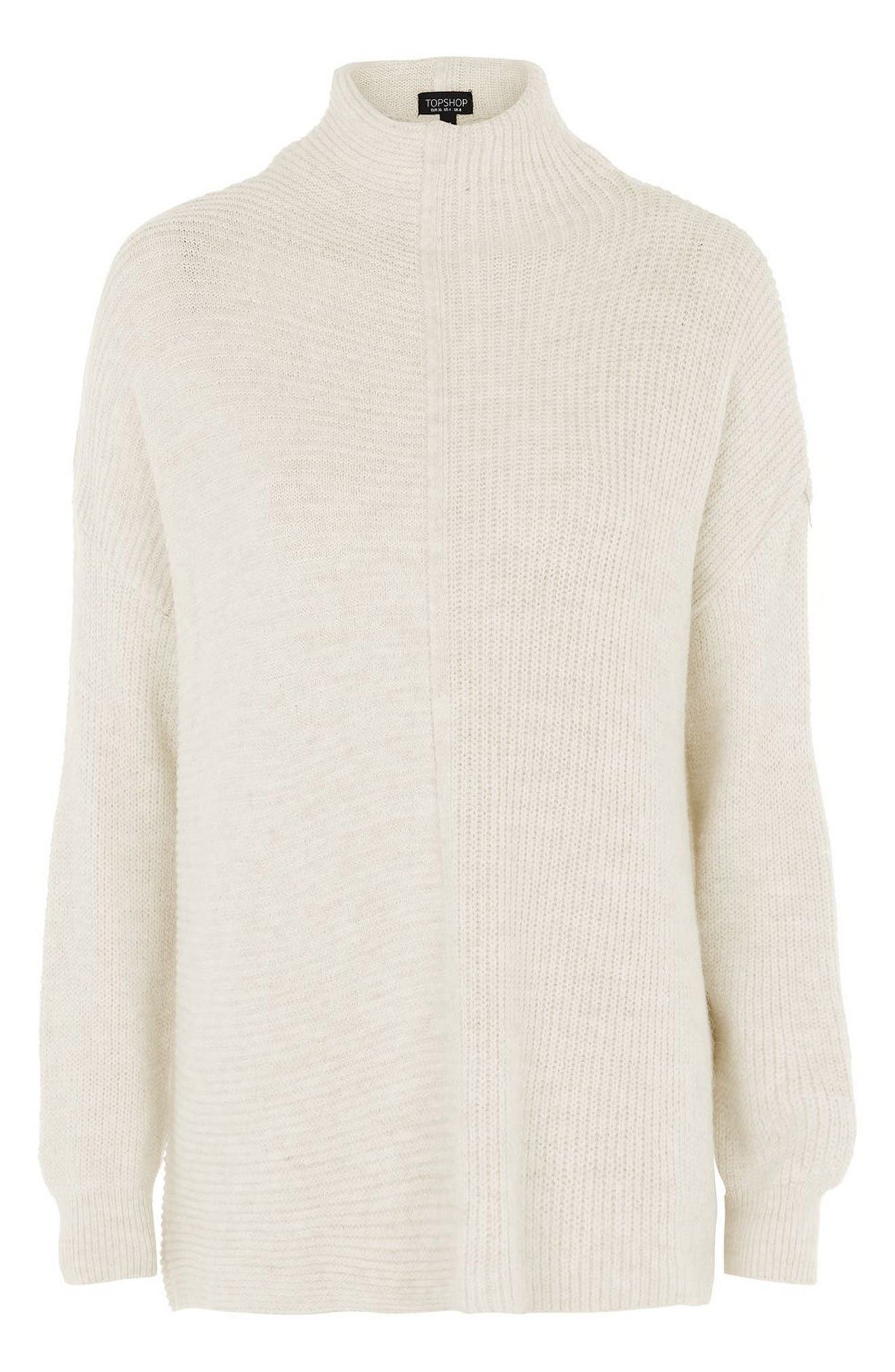 Alternate Image 4  - Topshop Funnel Neck Mixed Knit Sweater (Regular & Petite)