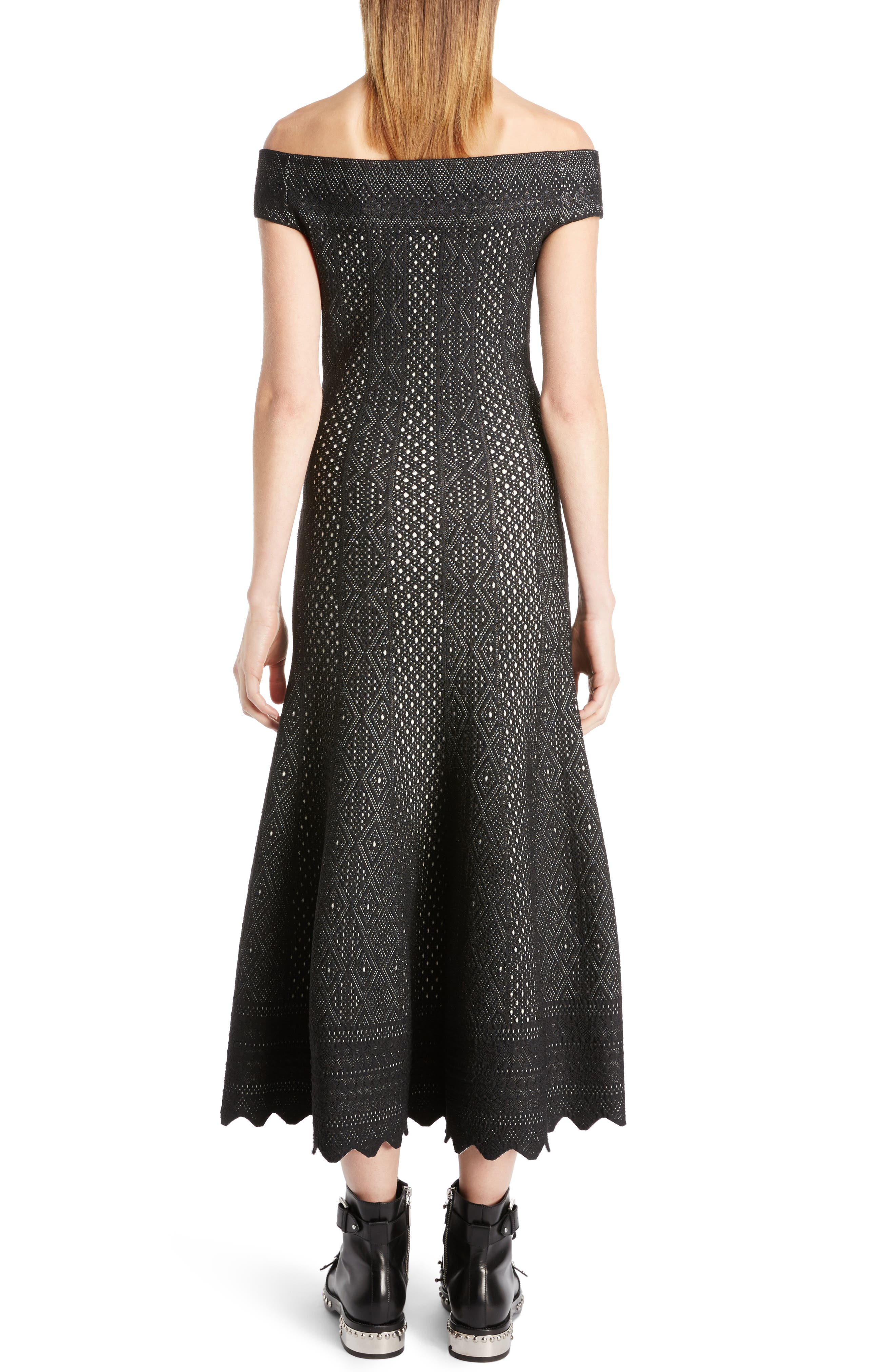 Alternate Image 2  - Alexander McQueen Off the Shoulder Bicolor Jacquard Dress