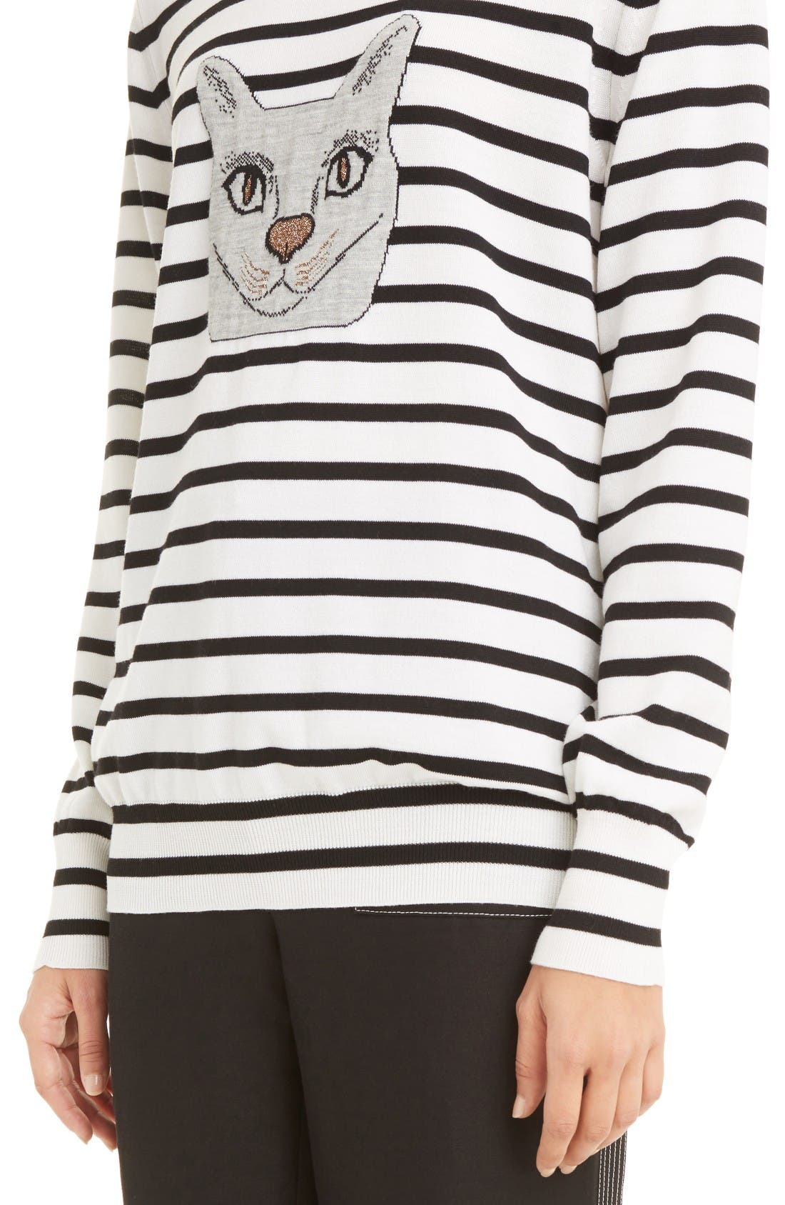Alternate Image 6  - Loewe Cat Stripe Wool Blend Sweater