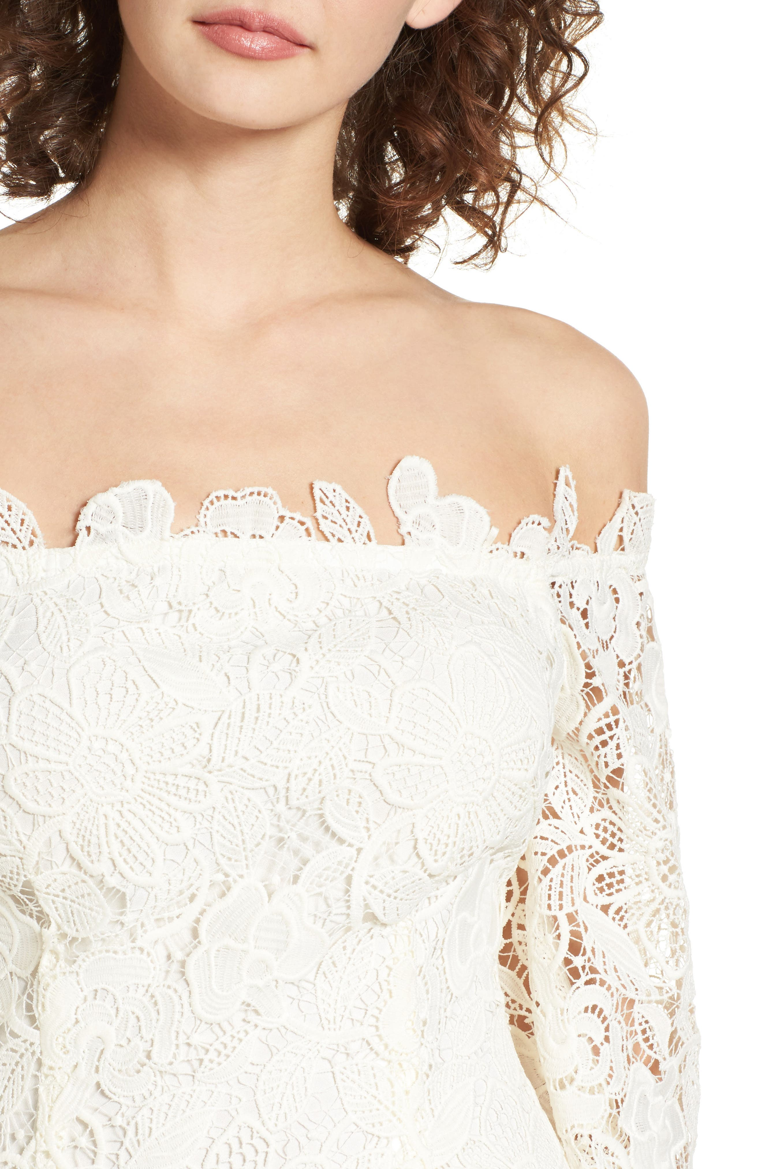 Alternate Image 5  - ASTR the Label Madeline Off the Shoulder Lace Minidress