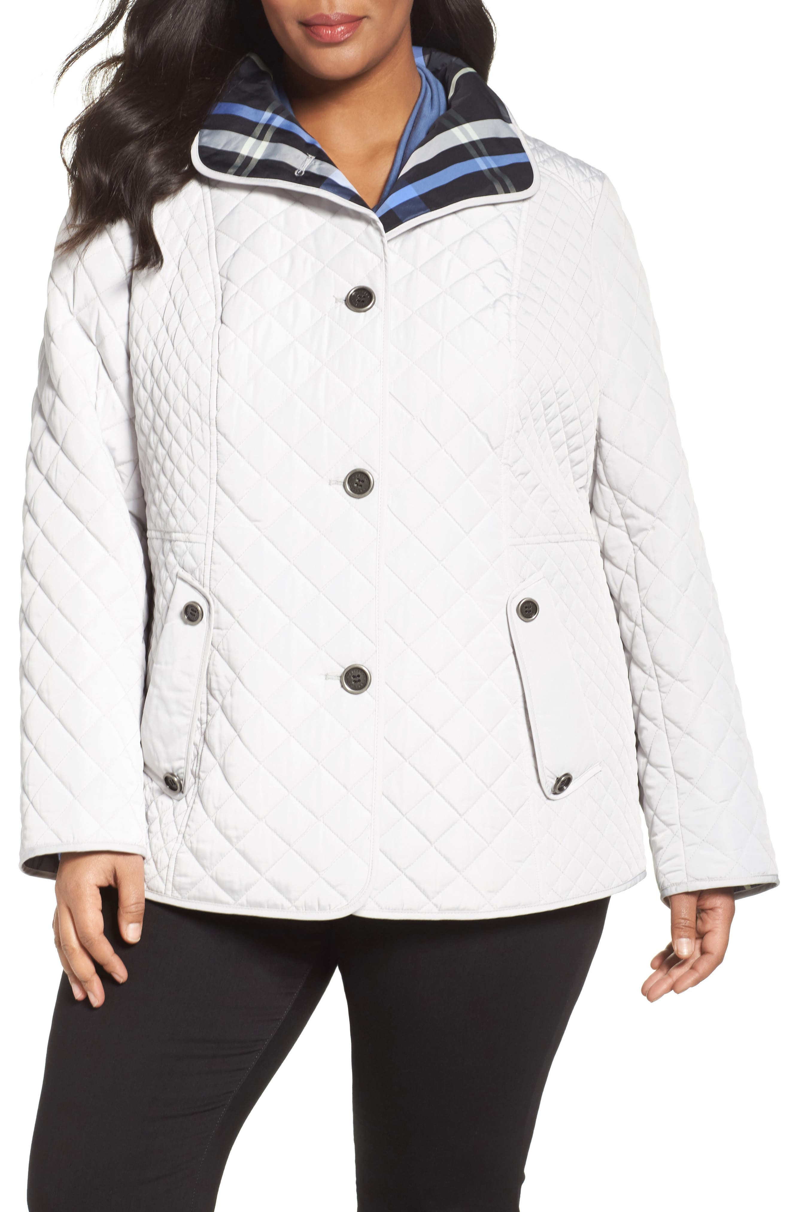 Gallery Plaid Lined Quilted Barn Jacket (Plus Size)