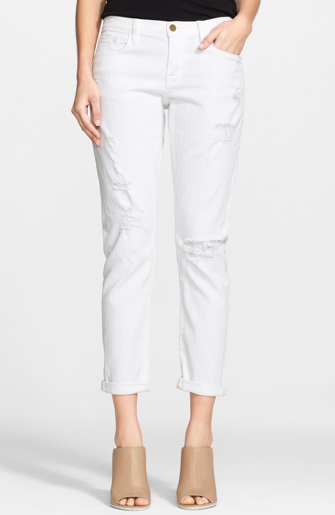 Alternate Image 1 Selected - Frame Denim 'Le Garcon' Destroyed Slim Boyfriend Jeans (Rip Blanc)