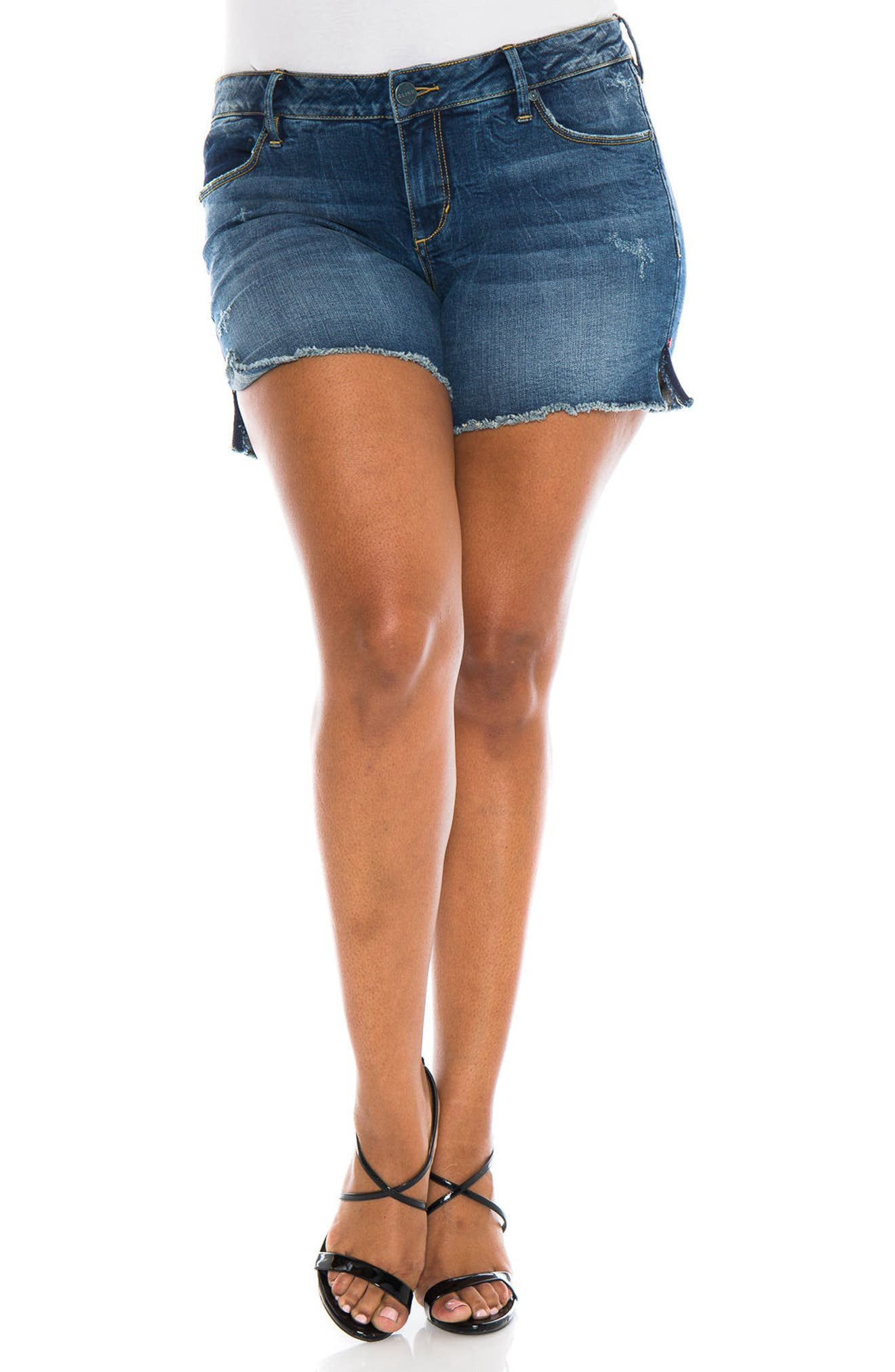 Alternate Image 1 Selected - SLINK Jeans Cutoff Denim Shorts (Caralyn) (Plus Size)