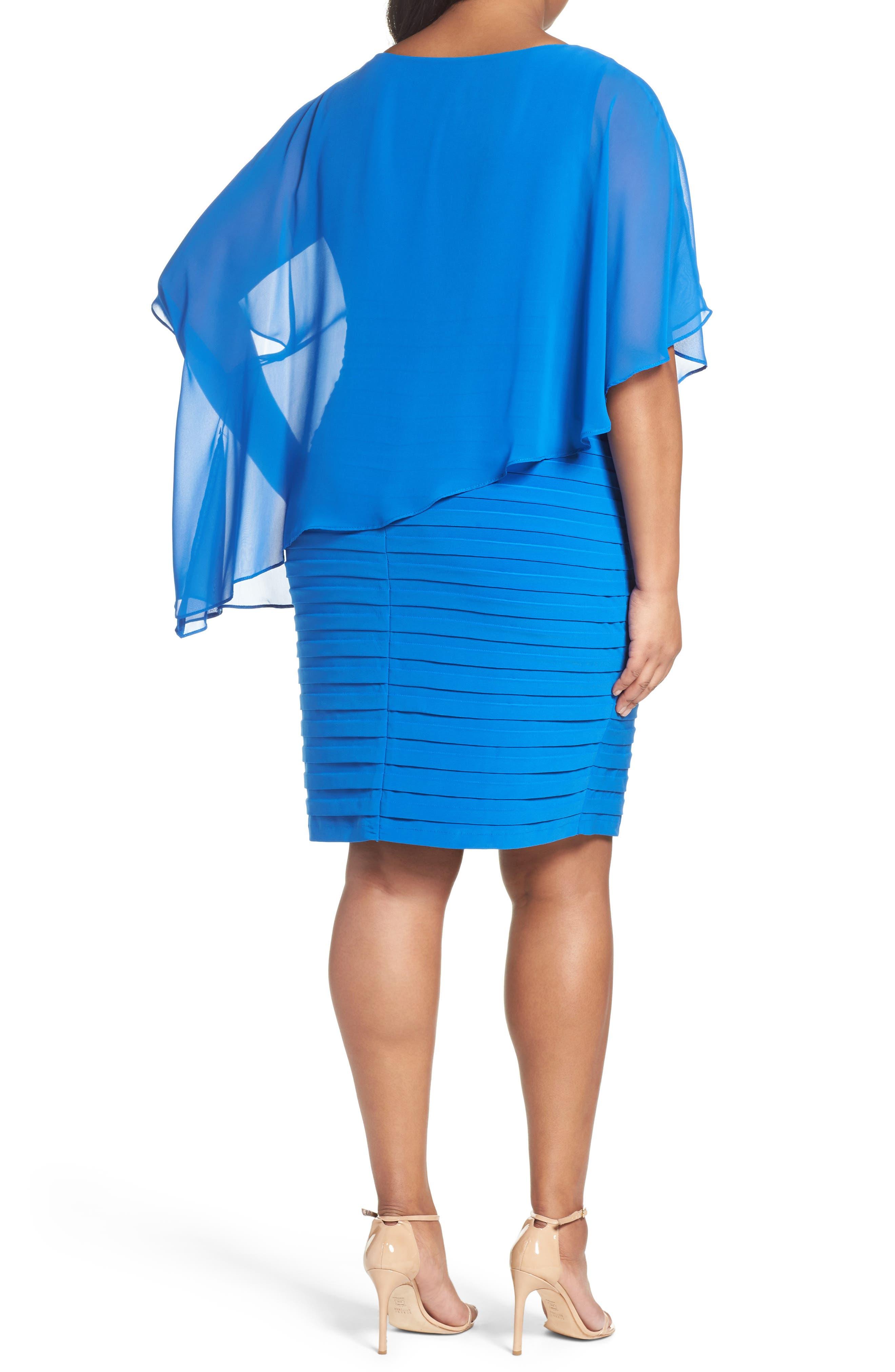 Alternate Image 2  - Adrianna Papell Chiffon Overlay Shutter Pleat Sheath Dress (Plus Size)