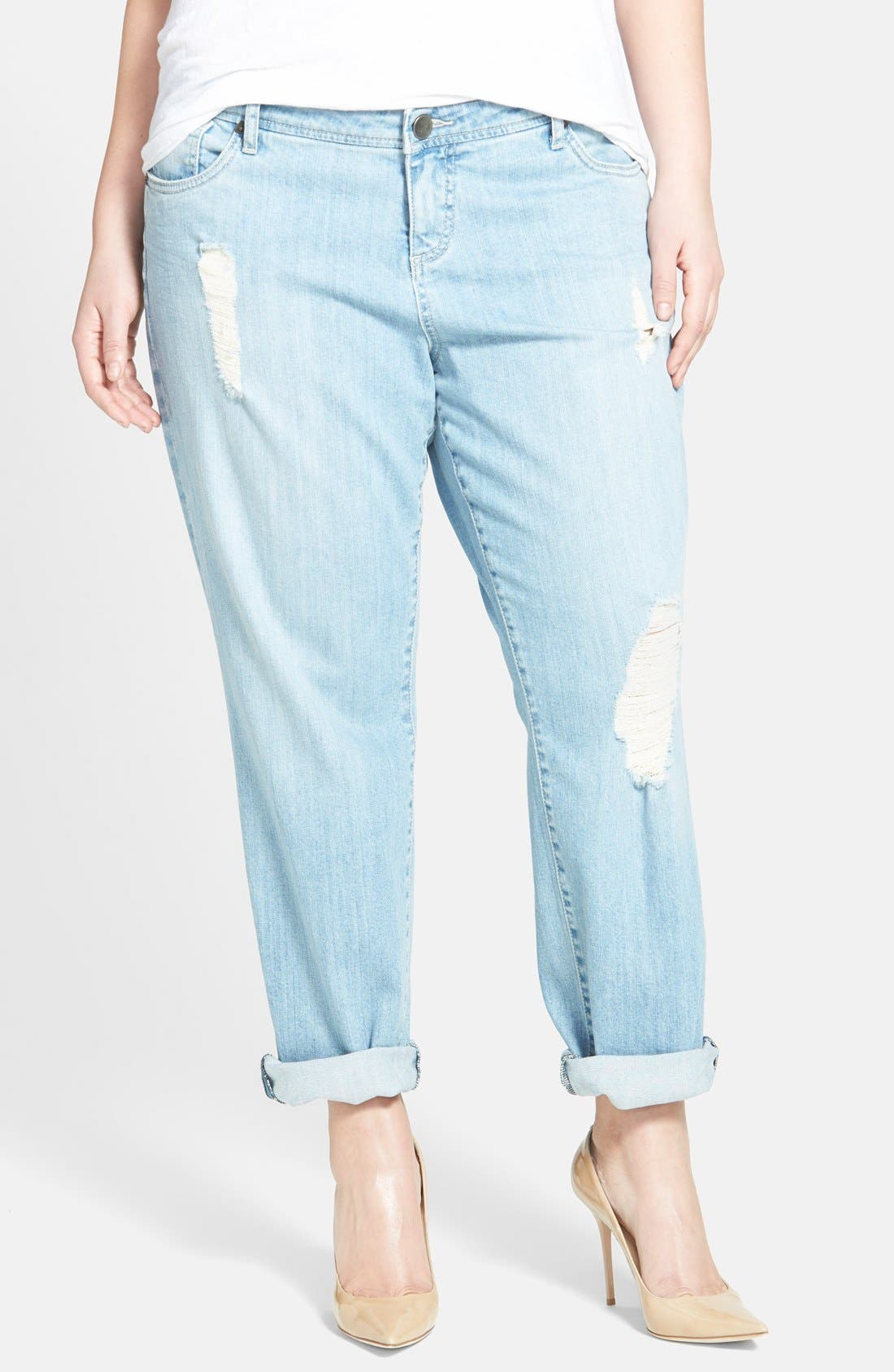 Alternate Image 1 Selected - KUT from the Kloth Distressed Boyfriend Jeans (Slick) (Plus Size)