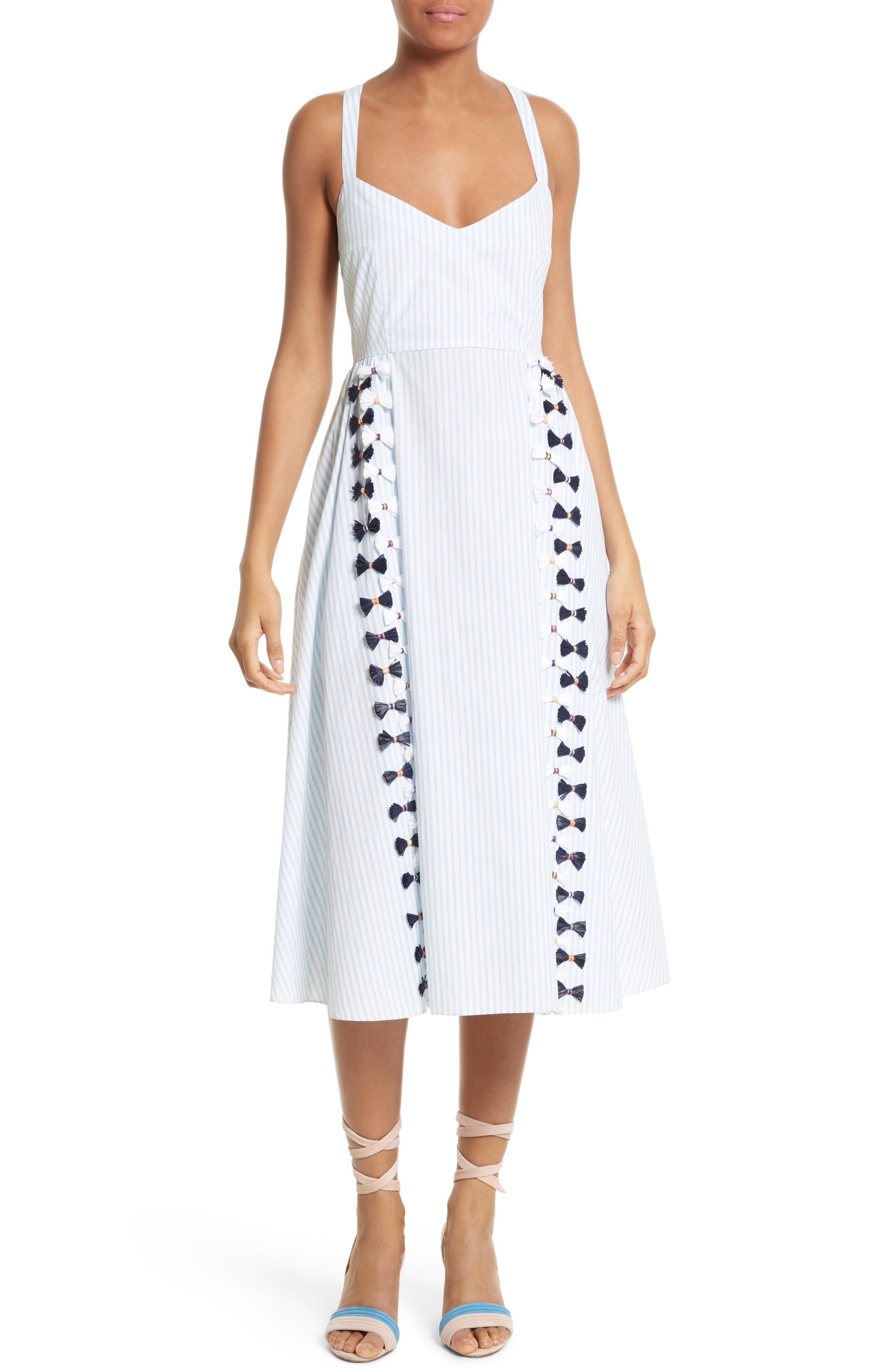 Main Image - Tanya Taylor Pari Embroidered Menswear Stripe Dress