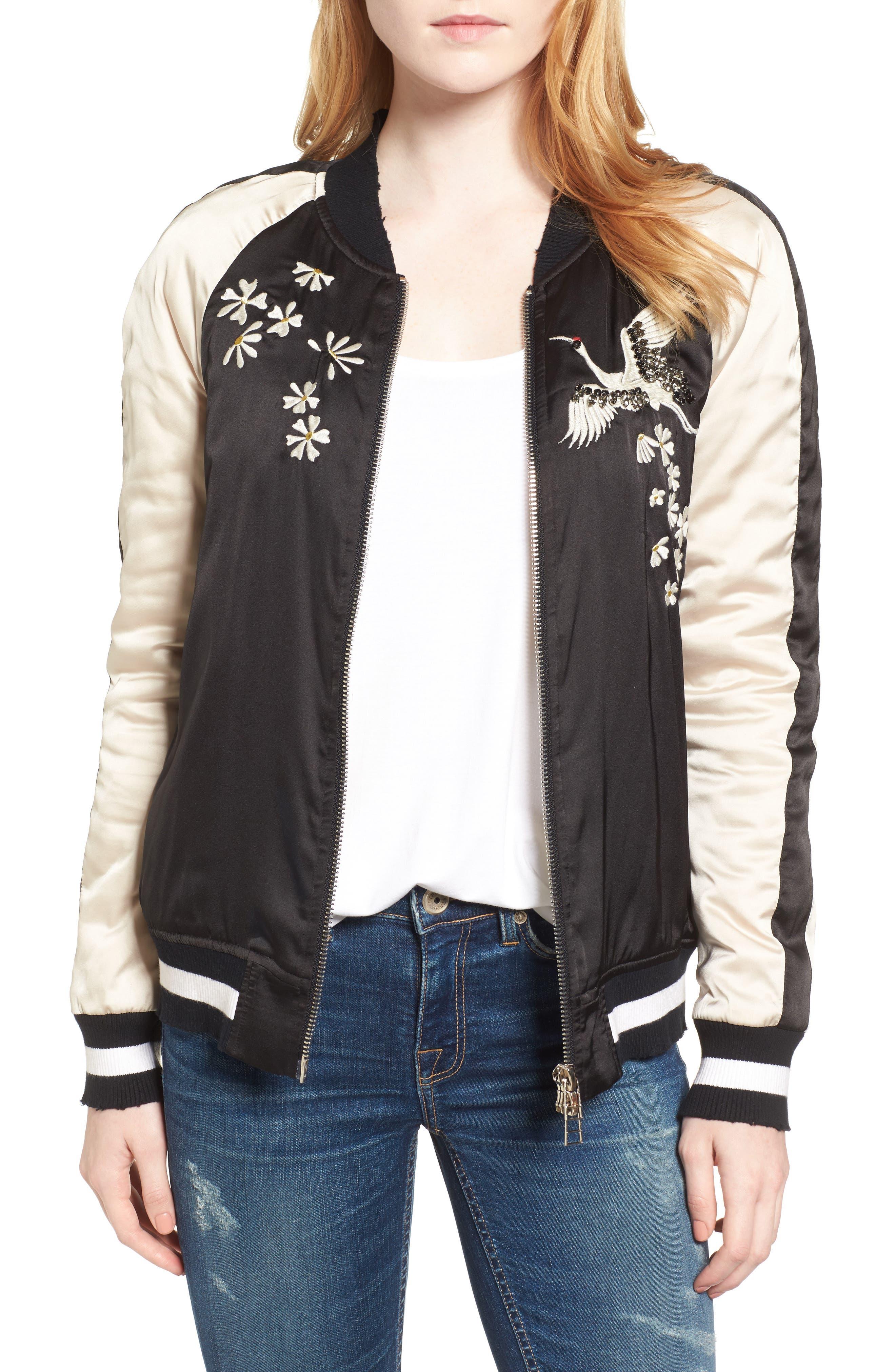 Alternate Image 1 Selected - Pam & Gela Embellished Satin Bomber Jacket