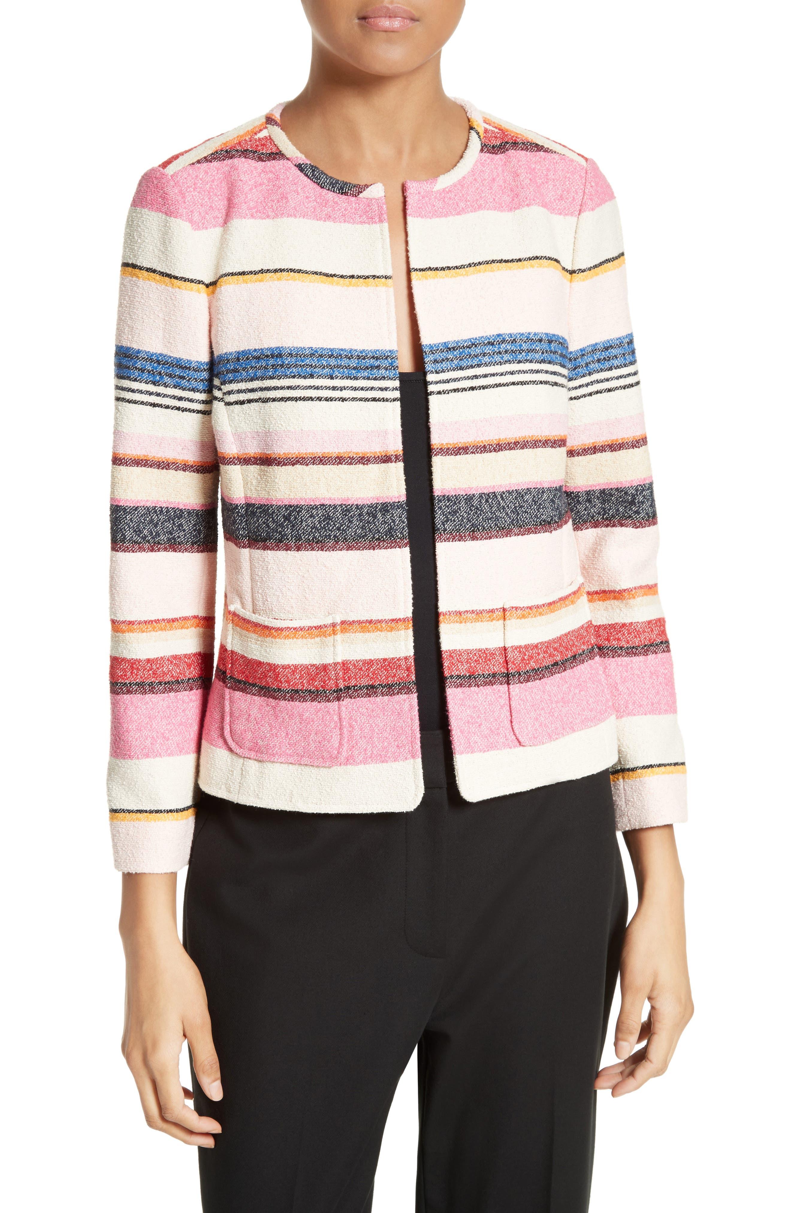 Alternate Image 1 Selected - kate spade new york berber stripe collarless jacket