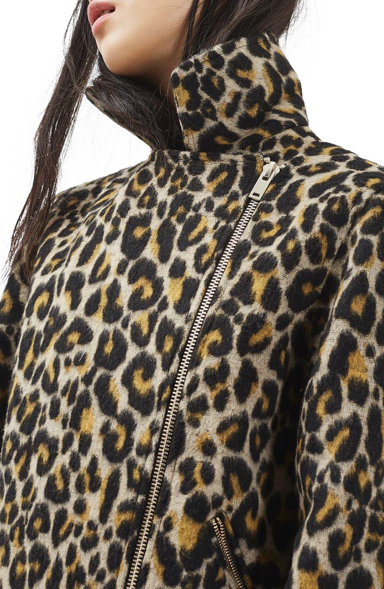 Alternate Image 5  - Topshop Leopard Print Biker Jacket
