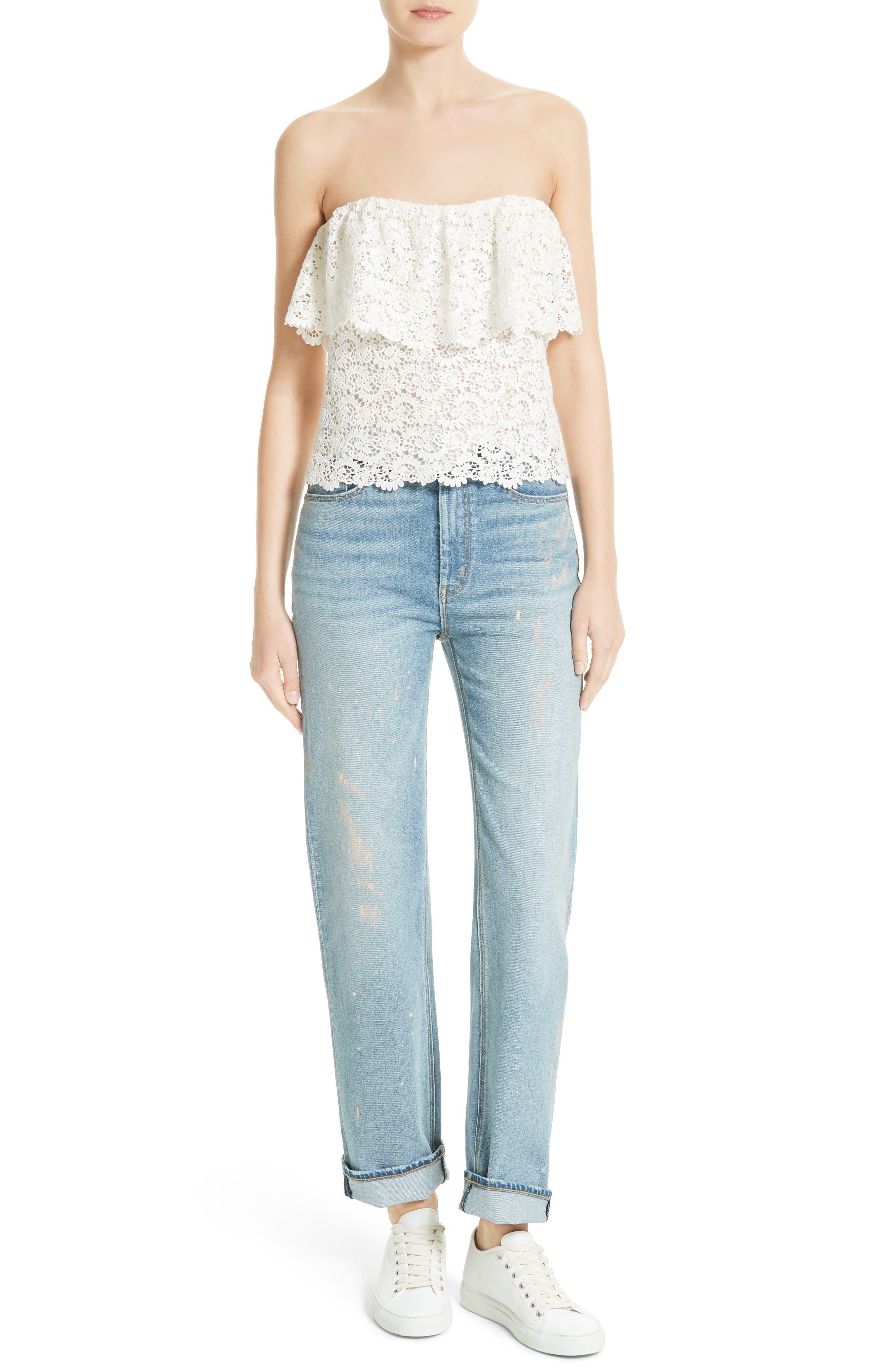Alternate Image 2  - La Vie Rebecca Taylor Paint Splatter Straight Leg Jeans