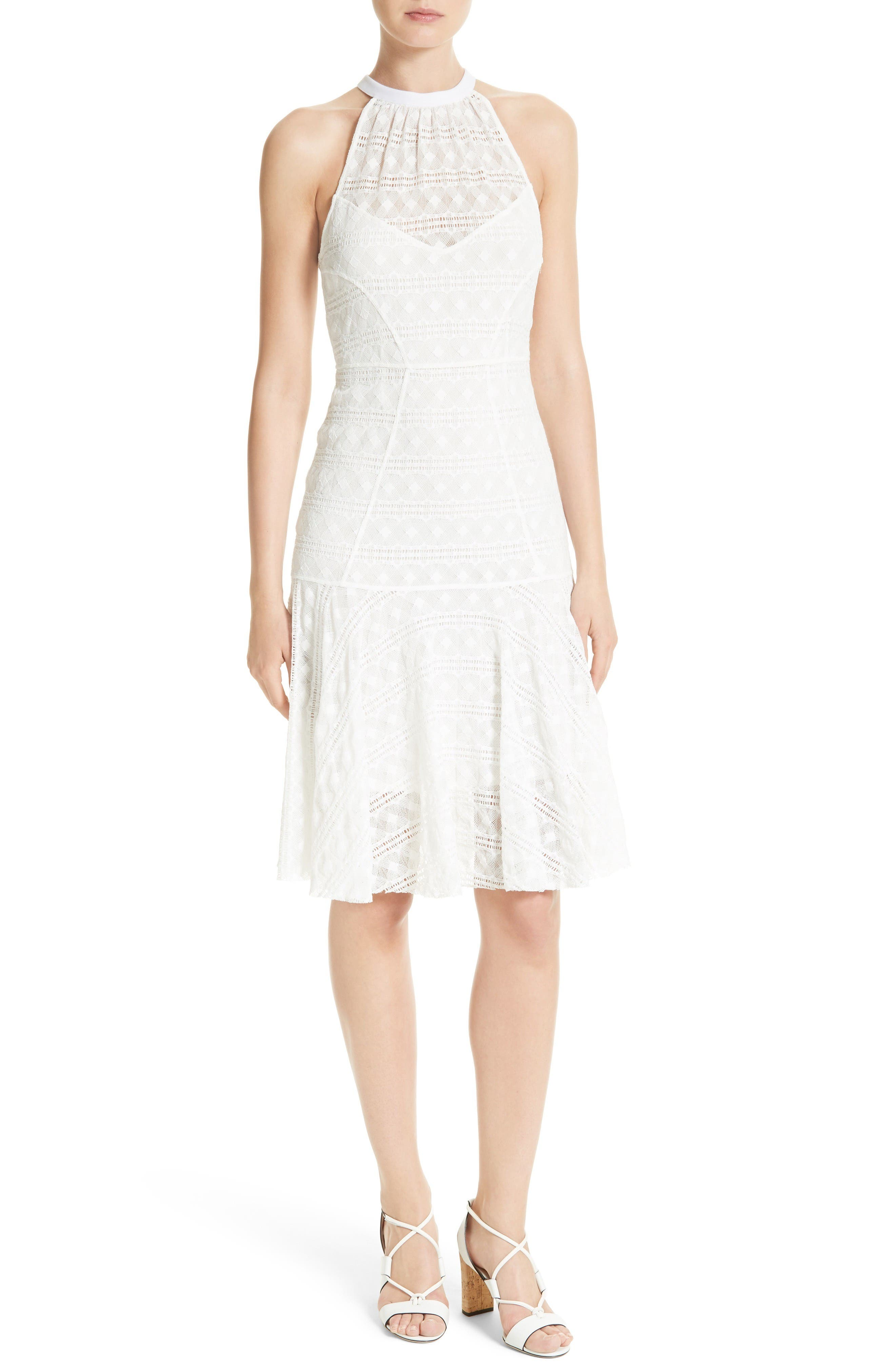 Tracy Reese Stretch Lace Flare Hem Frock