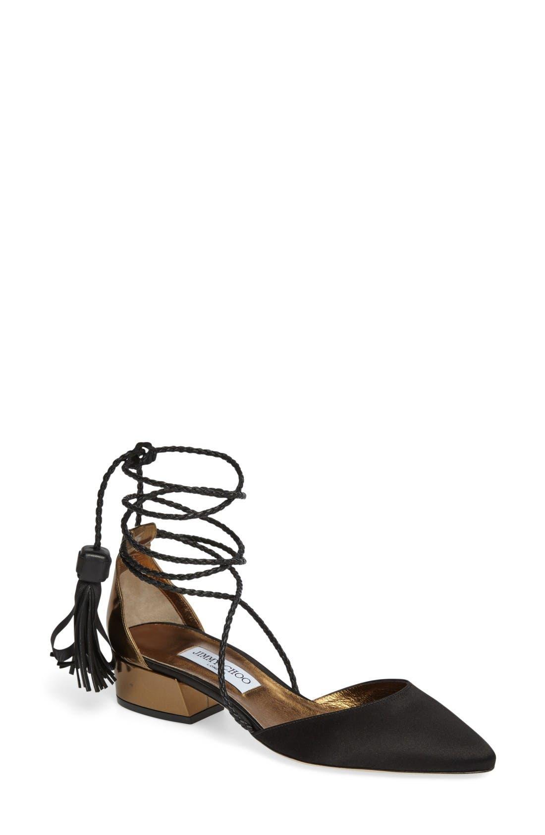 Main Image - Jimmy Choo Duchess Ankle Wrap Flat (Women)