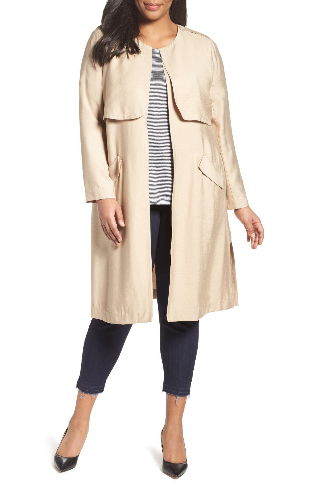 Sejour Long Open Front Trench Coat (Plus Size)
