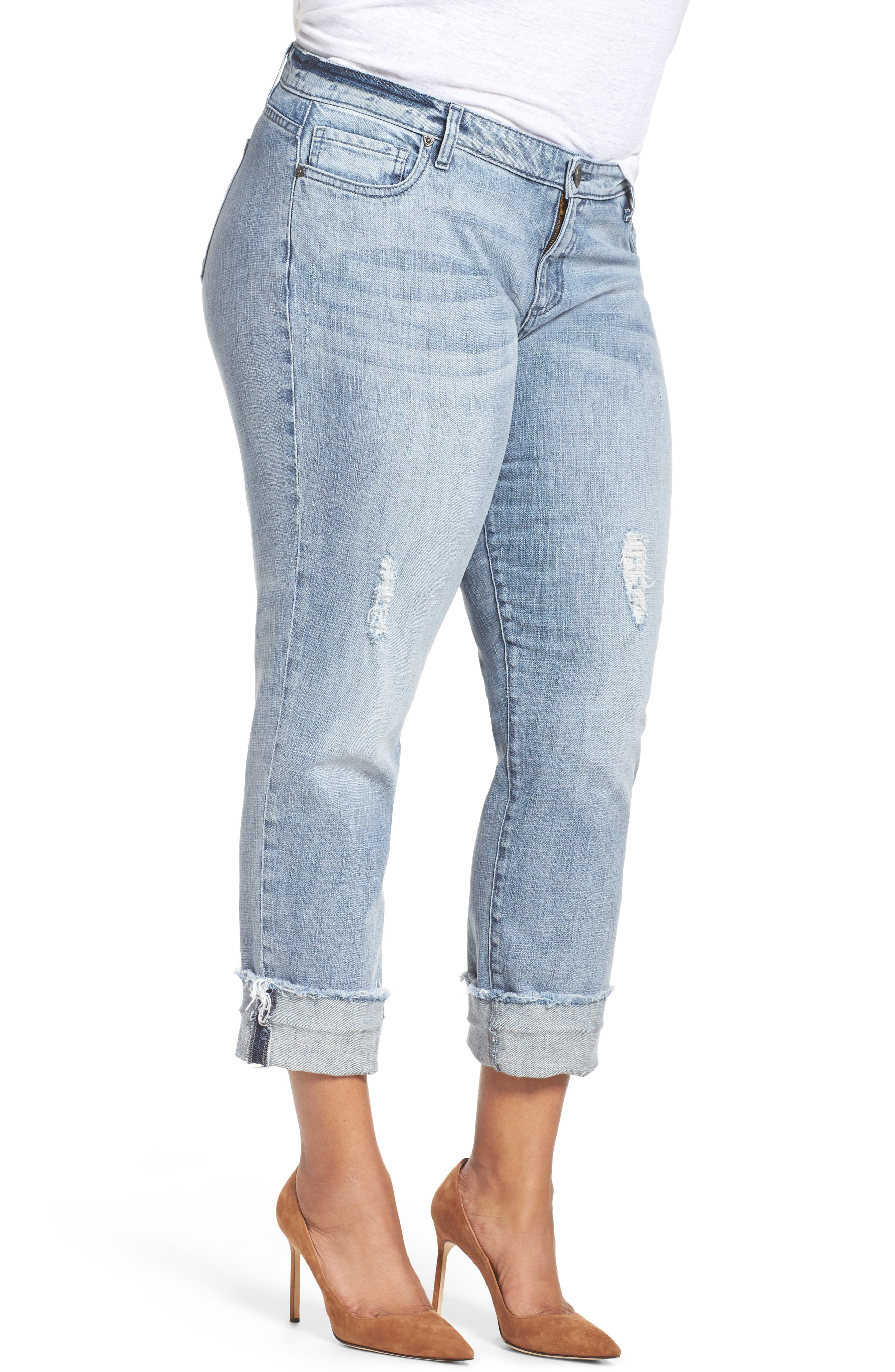 Alternate Image 5  - KUT from the Kloth Catherine Fray Hem Distressed Boyfriend Jeans (Plus Size)